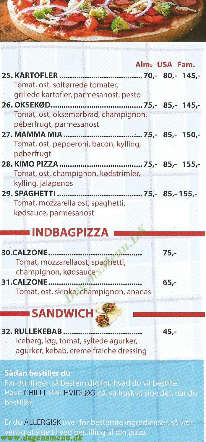 Kimo Pizza & Burger - Menukort