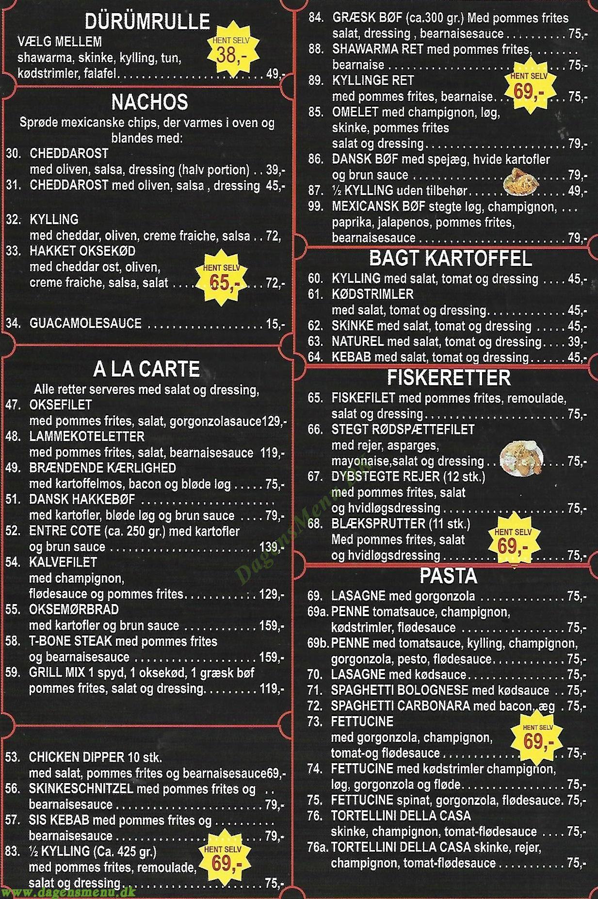 EXPRESS Pizza Nørrebro - Menukort