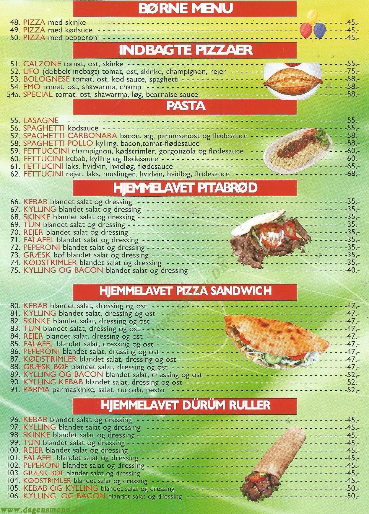 Hugo's pizza Amager - Menukort