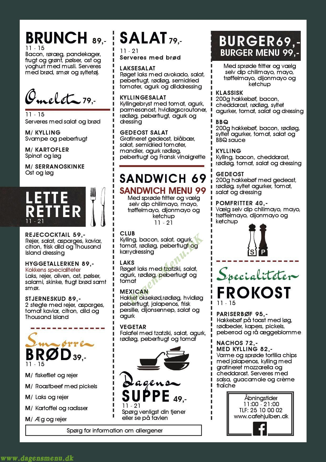 Cafe Hjulben - Menukort