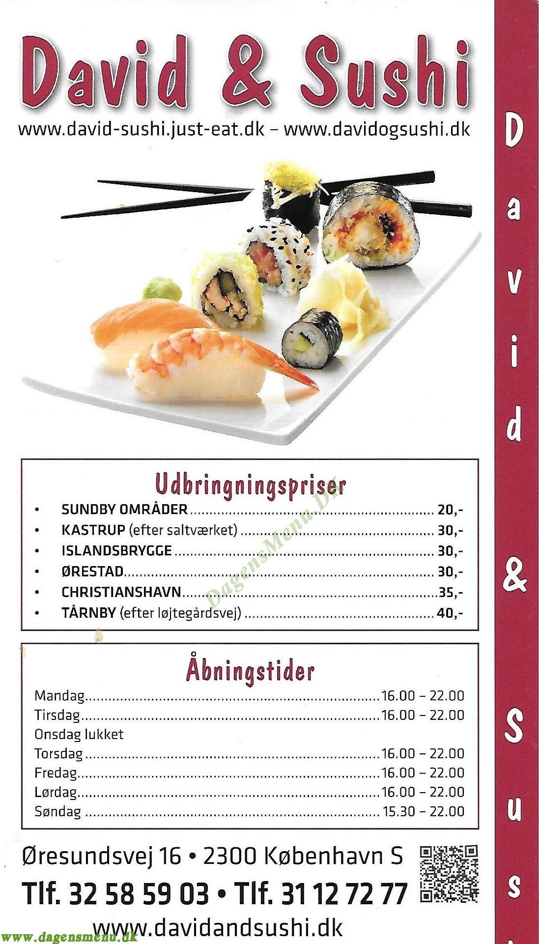 David og Sushi. Bestil Take Away - Menukort