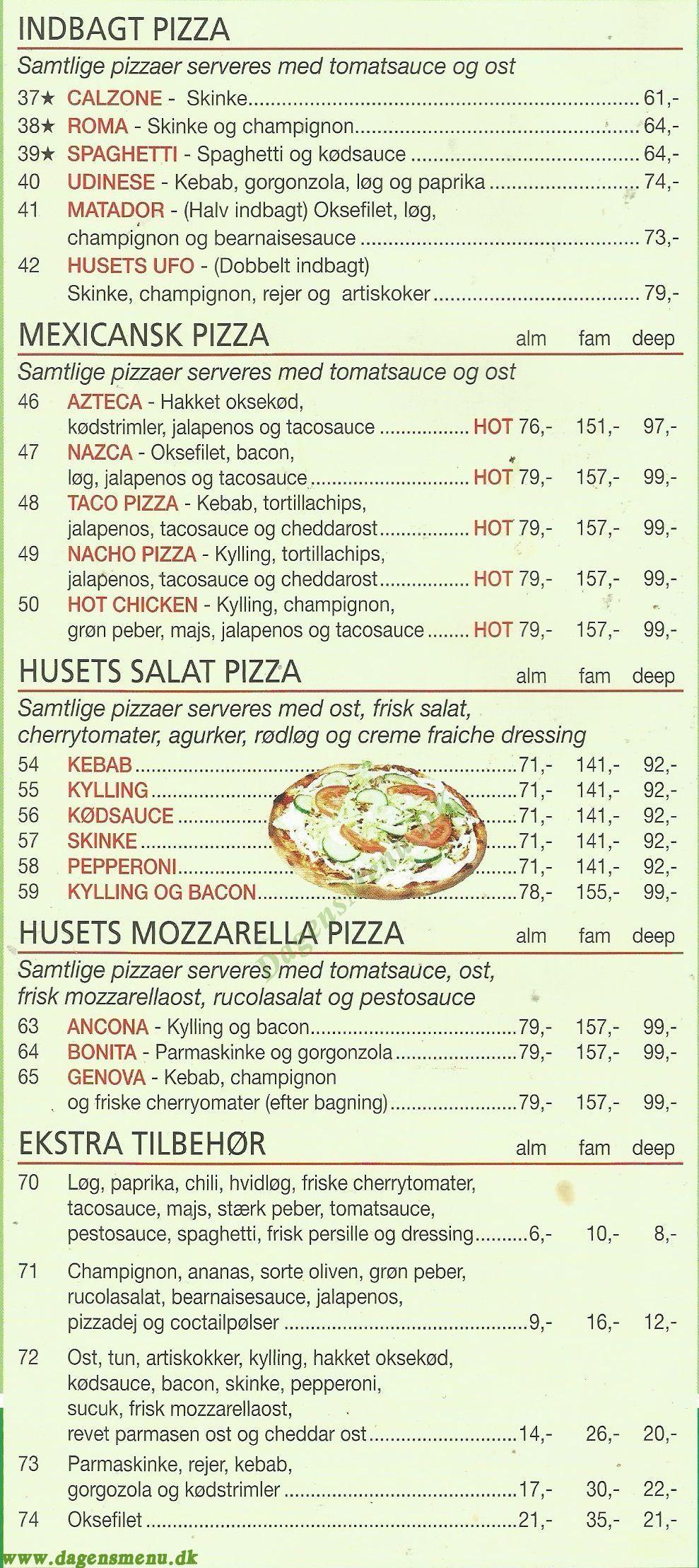 Oregan Pizza & Burger House - Menukort