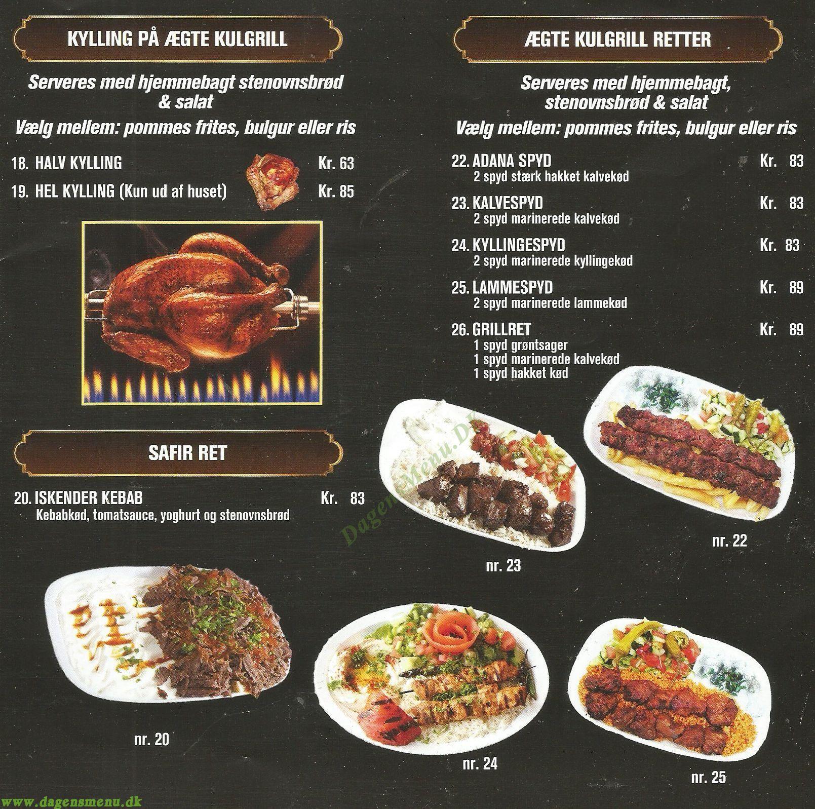 safir kebab menu kort