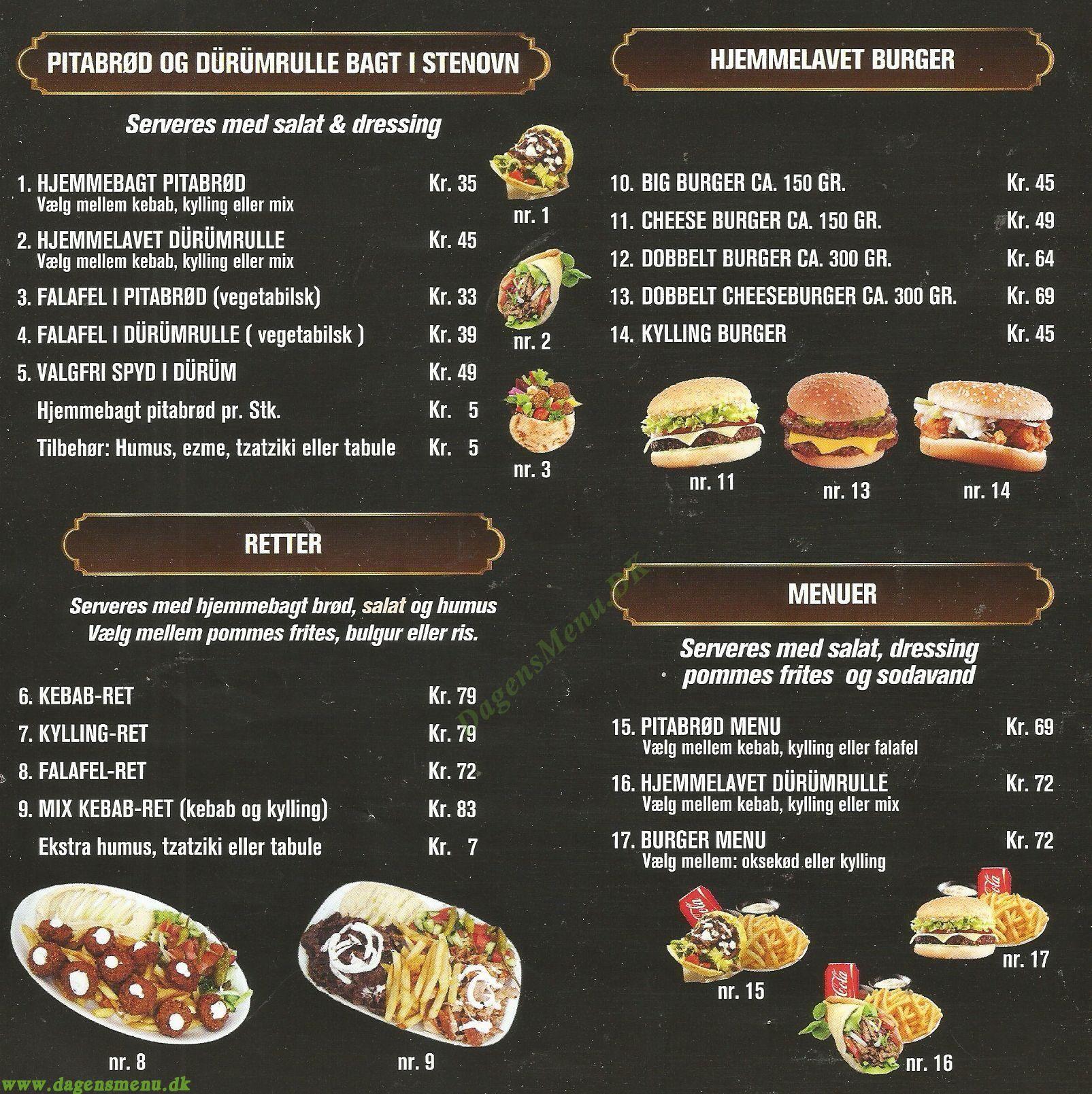 Safir kebab k benhavn n dagens menu for Divan kebab menu