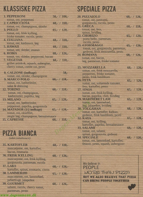 Stefanos Pizza - Menukort