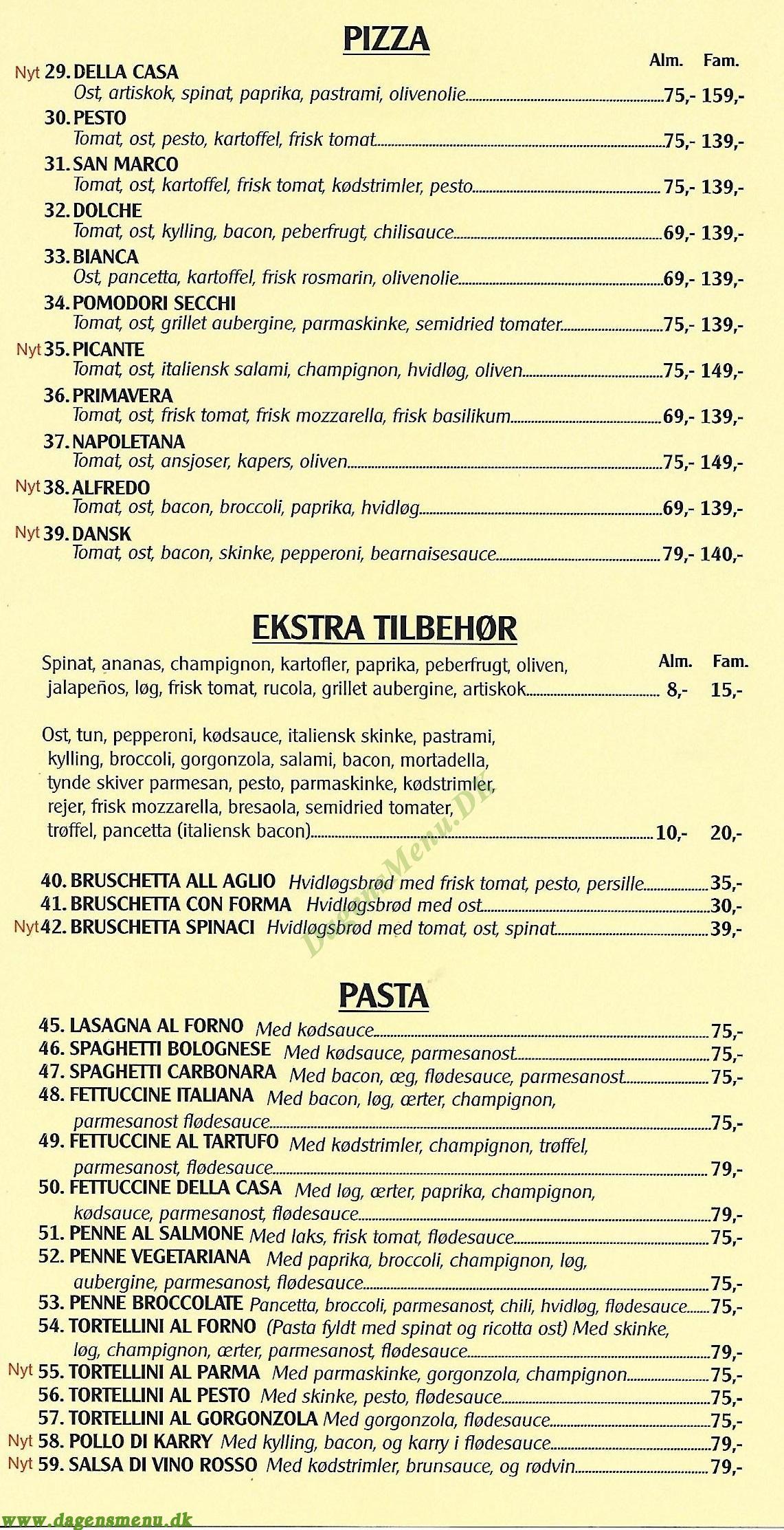 Buffalo Pizza - Menukort