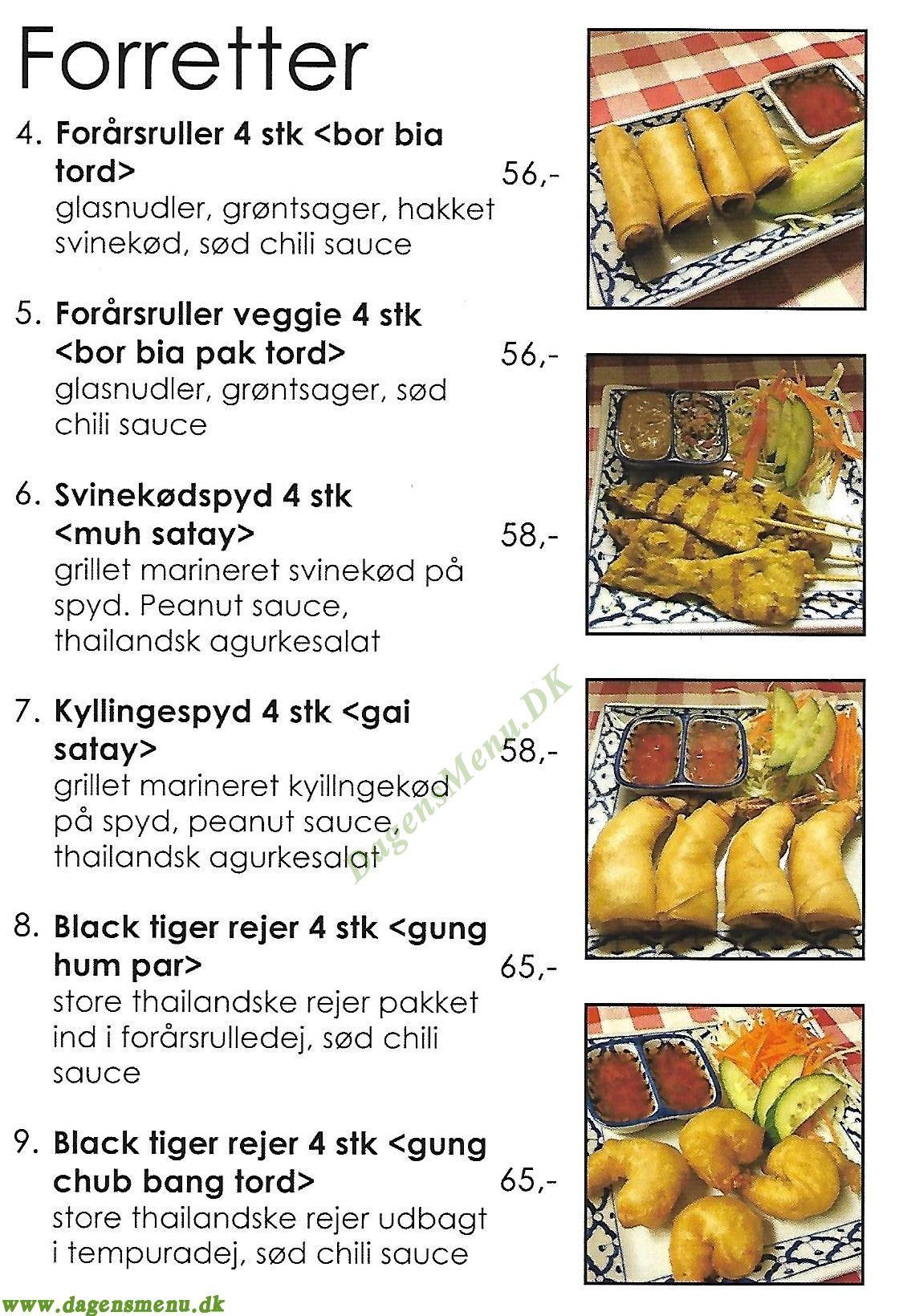 Restaurant Mai Thai - Menukort