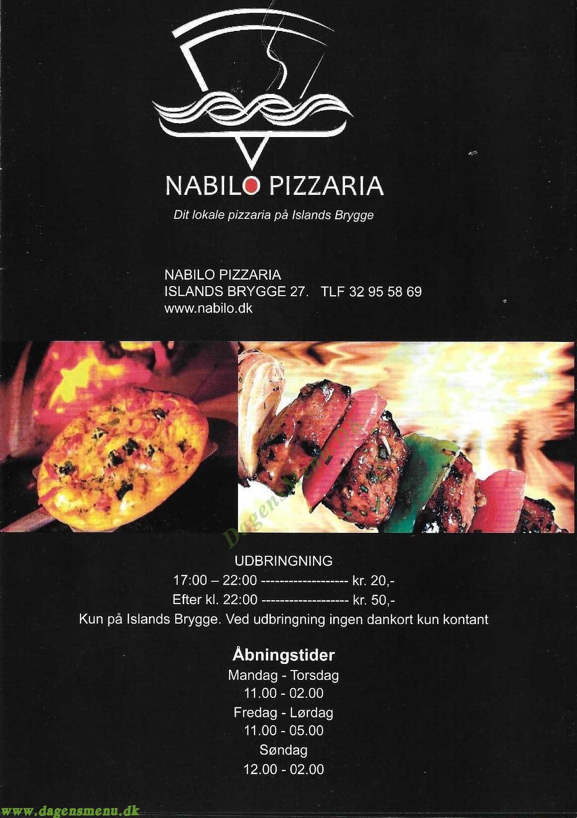 Nabilo Pizzaria  Islands Brygge - Menukort