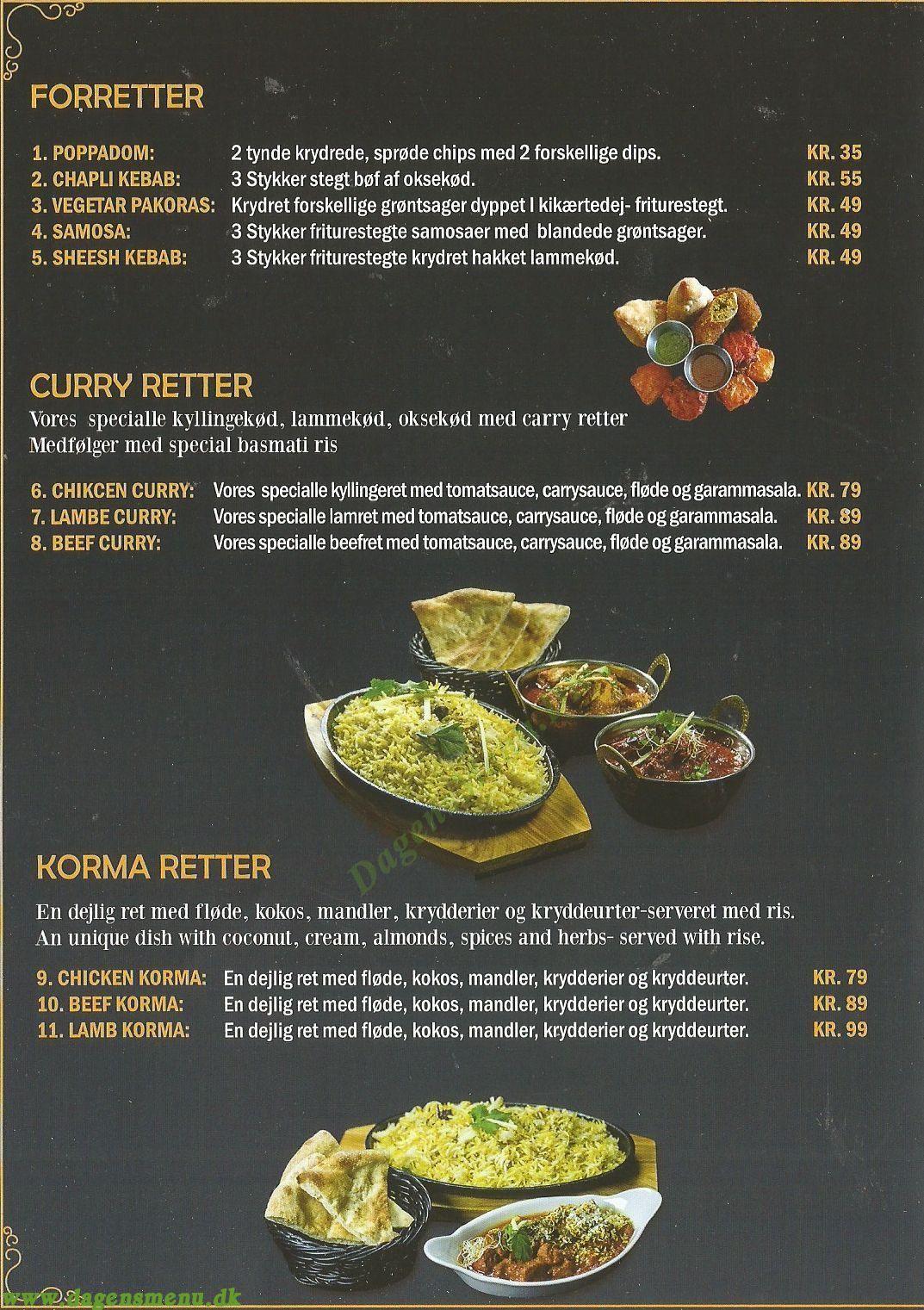 Buffet House - Indian Cuisine - Menukort