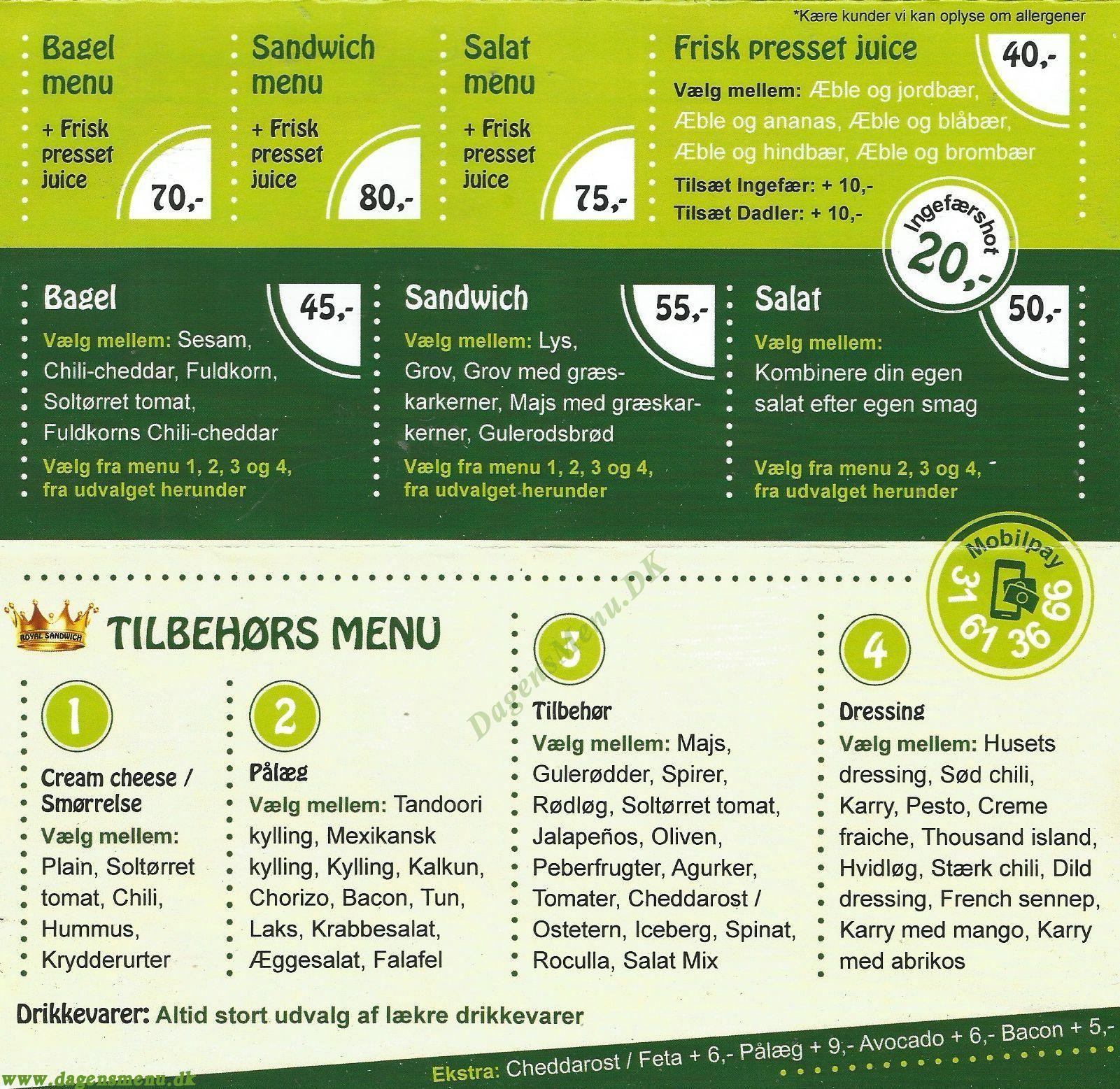 Royal Sandwich, Se menu Ring og Bestil - Menukort