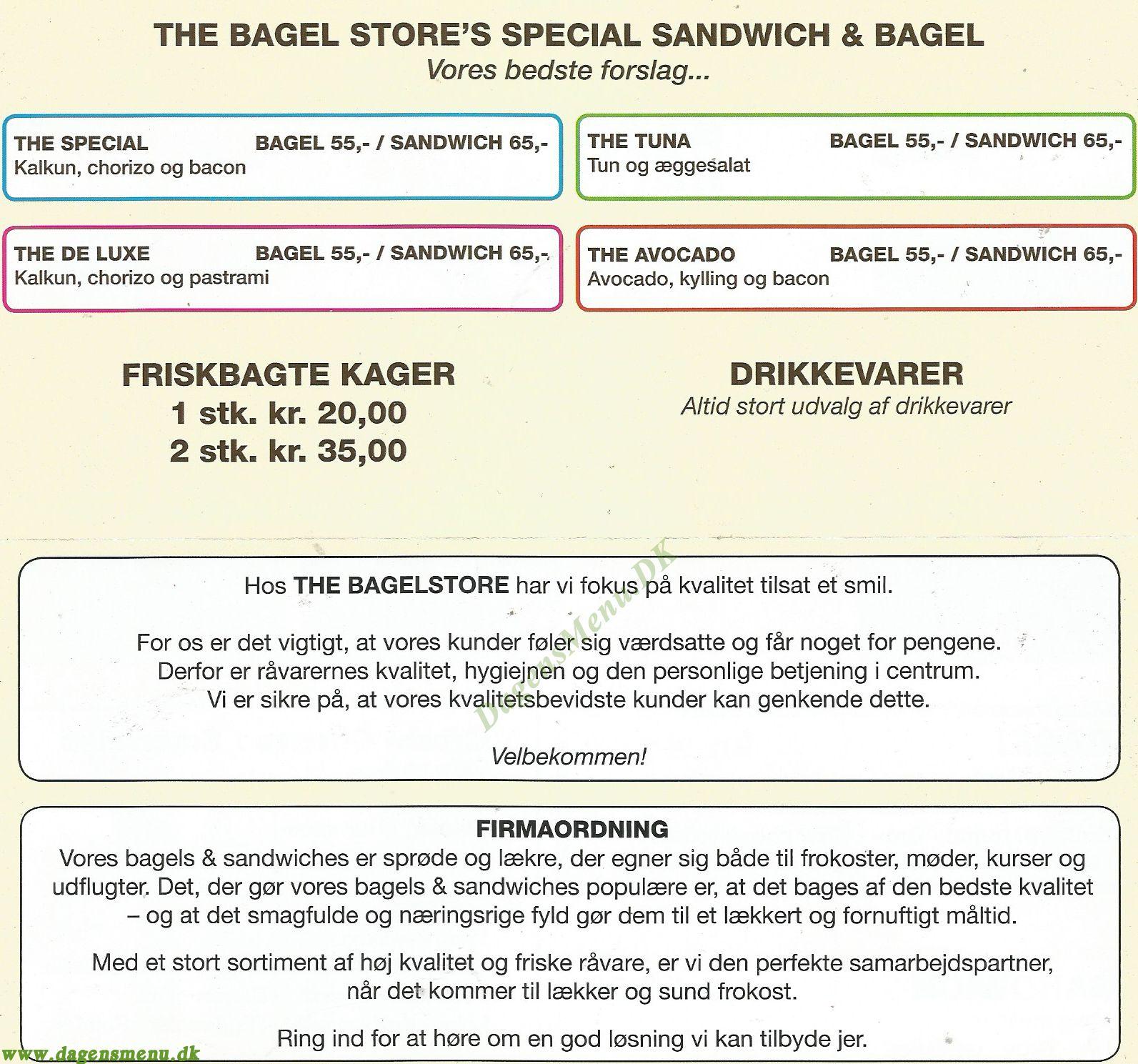 The Bagel Store Folehaven - Menukort