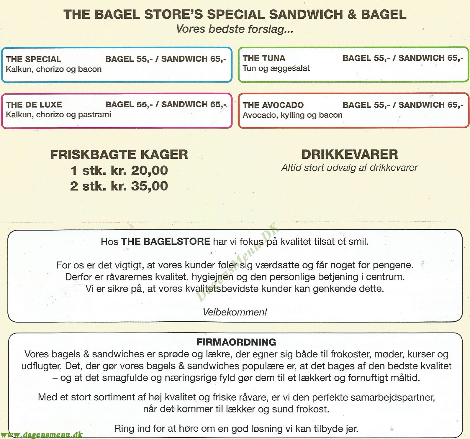 The Bagel Store Toftegård - Menukort