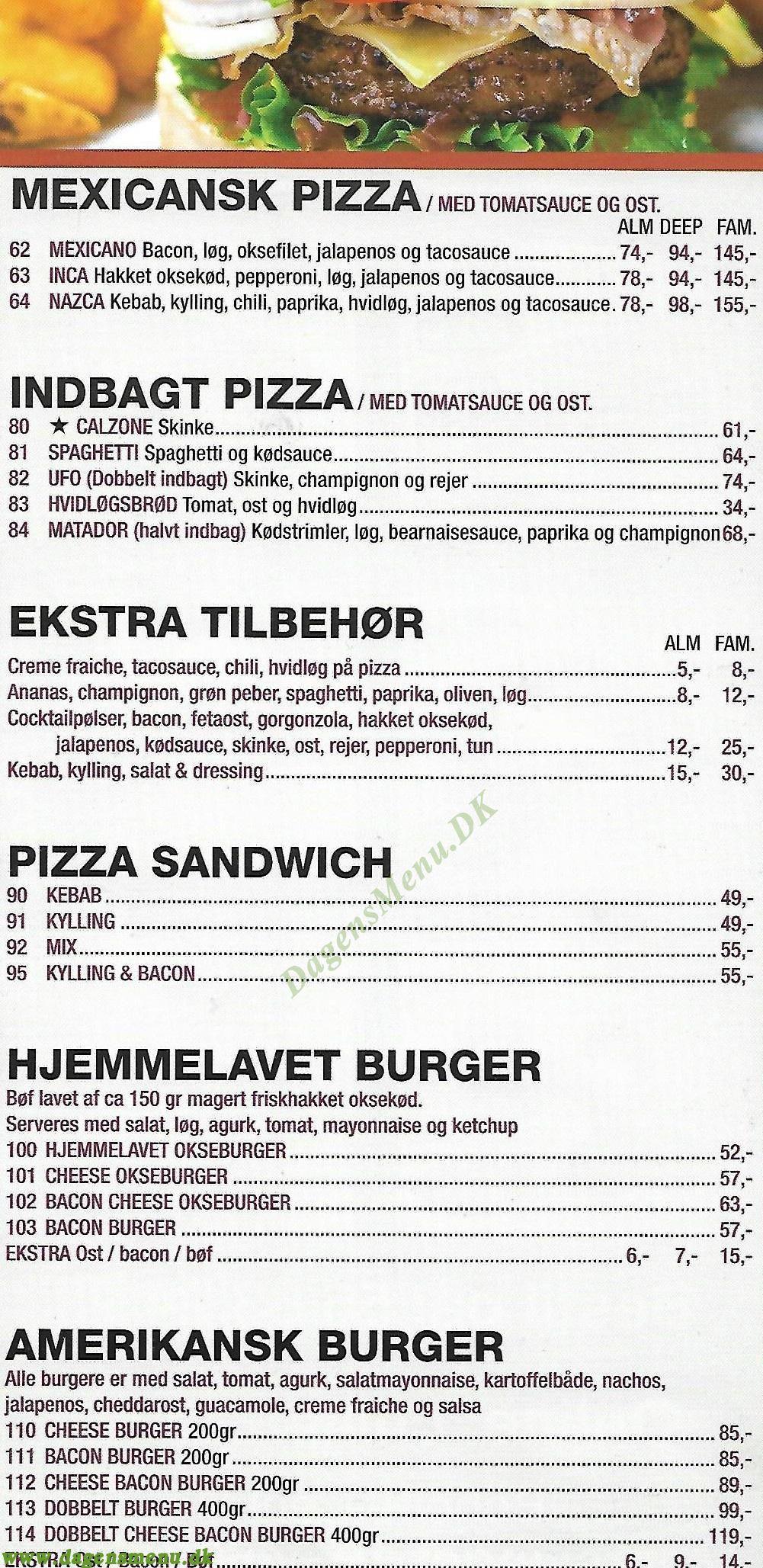 Chili Pizza Shawarma House - Menukort