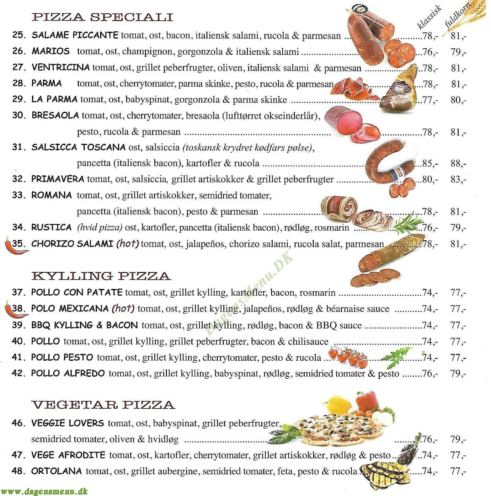 Pizzorante L'italiano - Menukort