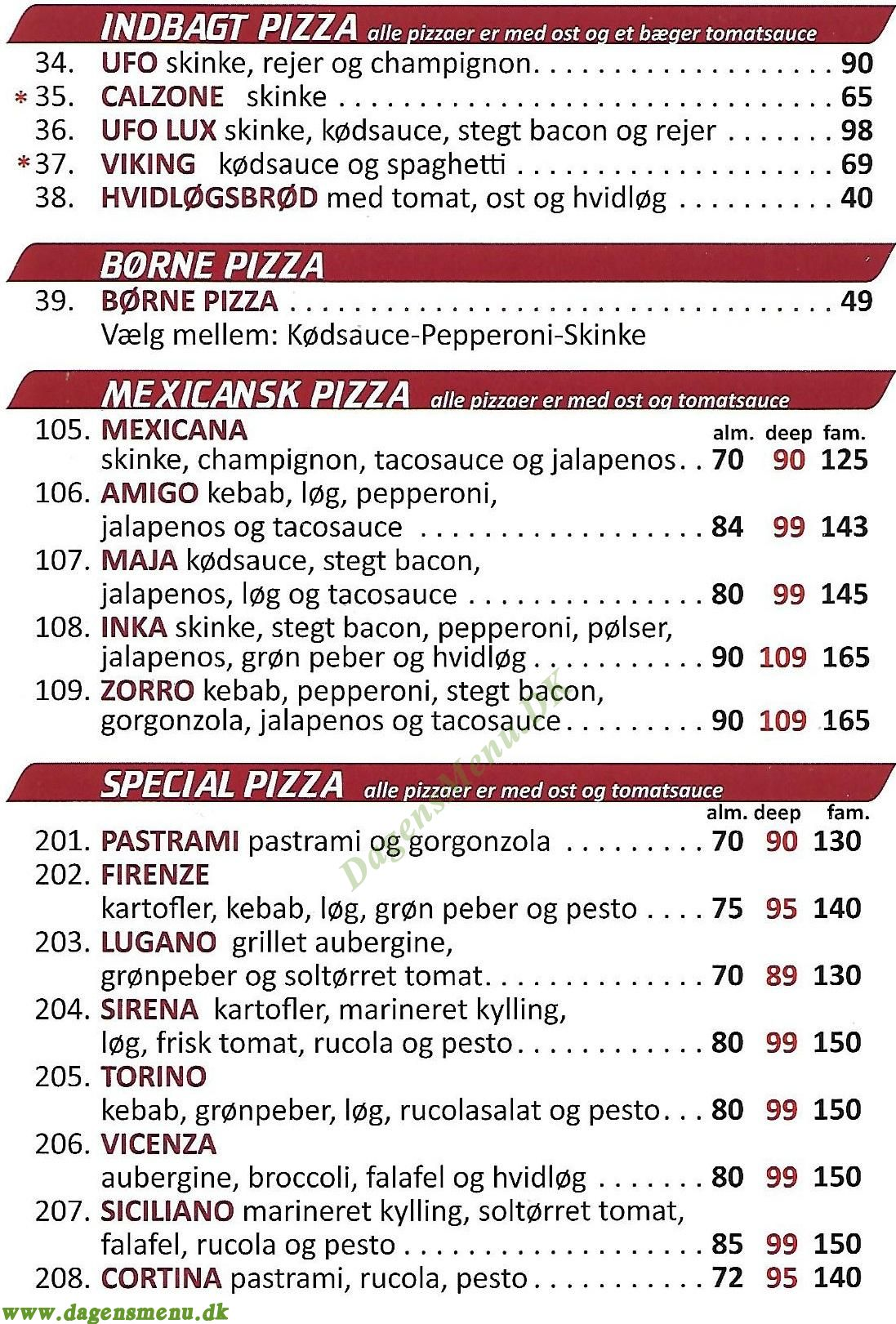 Lille Pizzahus - Menukort