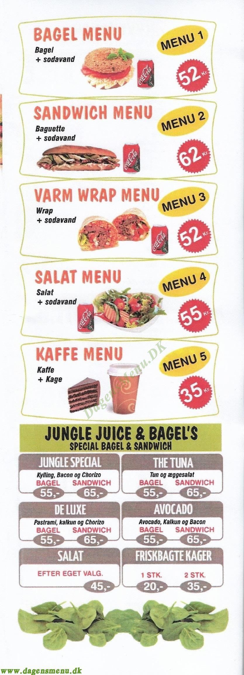 Jungle Juice & Bagel - Menukort