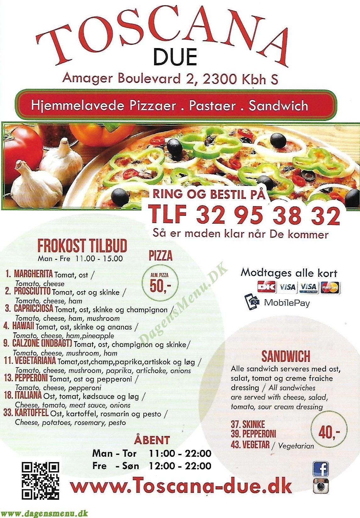 Amager Toscana due Pizza - Menukort