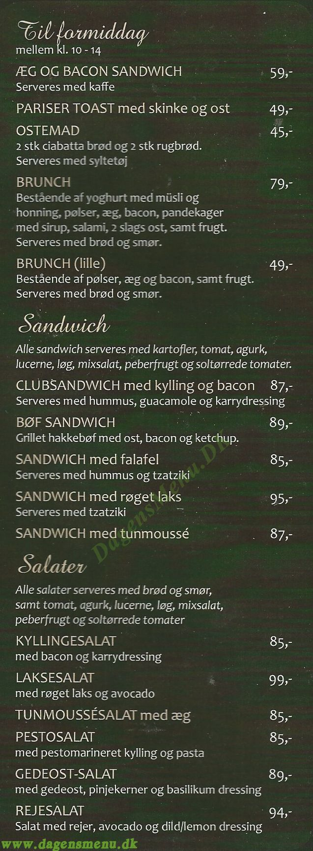 Cafe Liyana - Menukort
