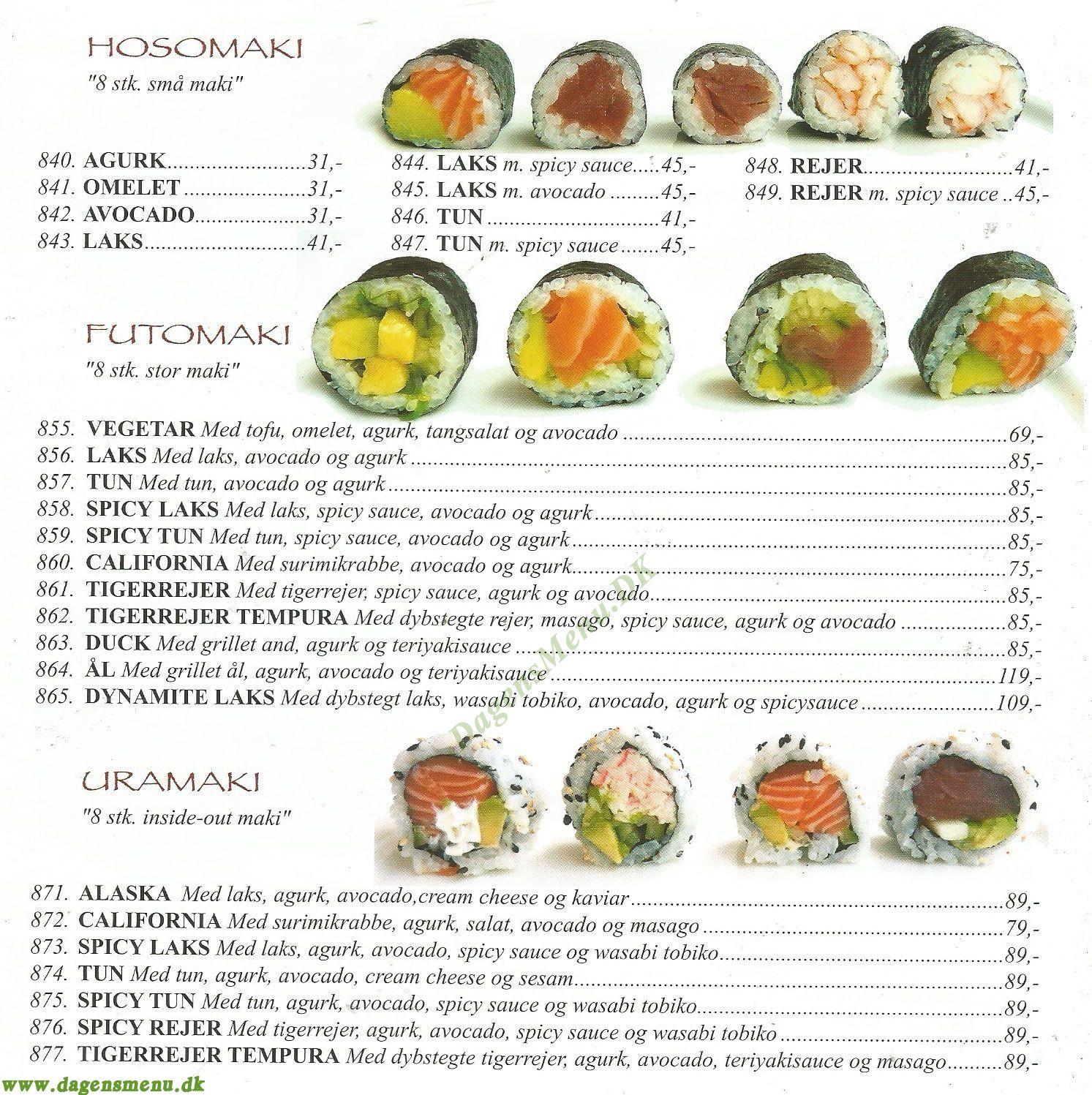 Dragon Grill Express & Sushi - Menukort