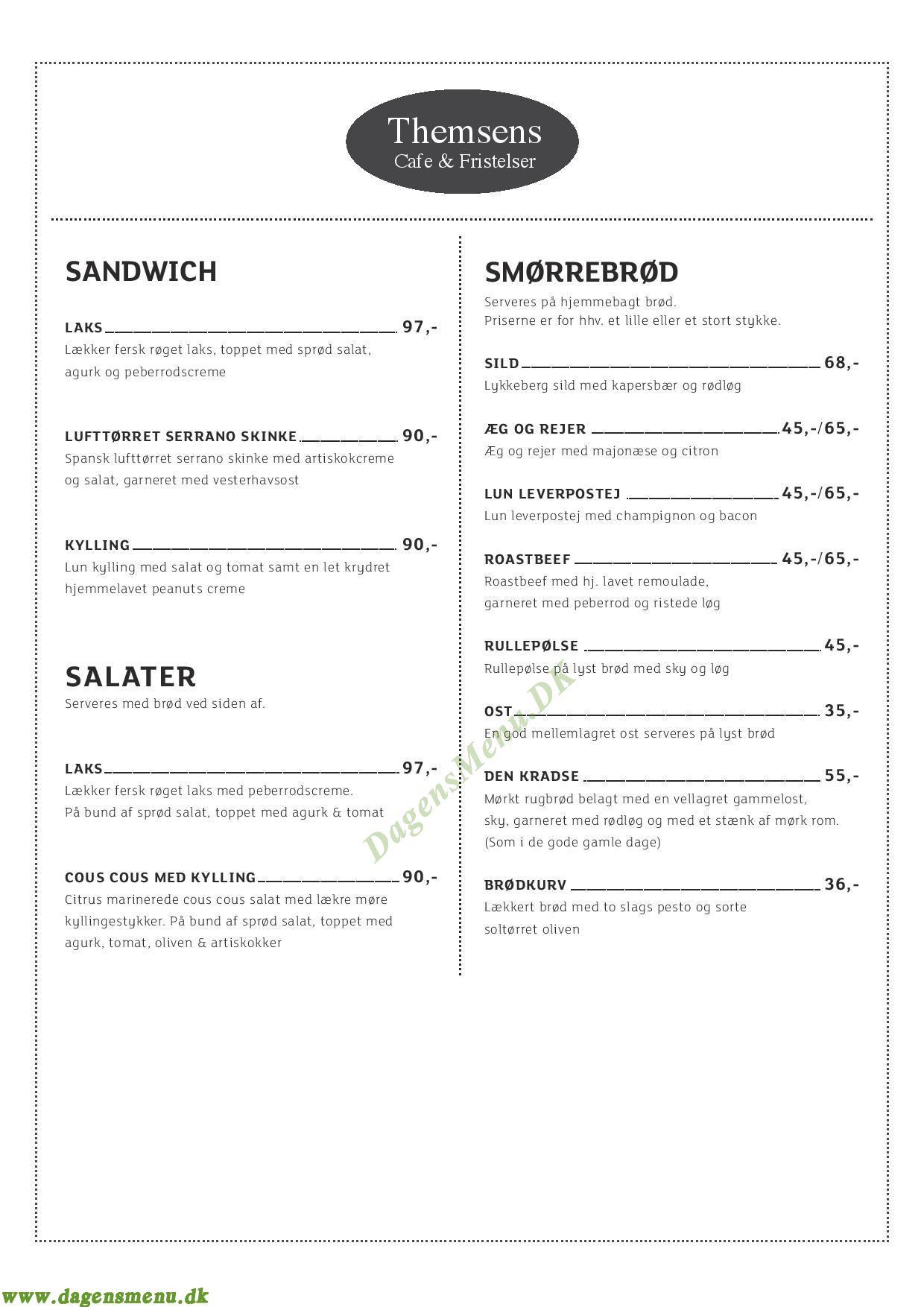 Themsens Cafe og Fristelser - Menukort