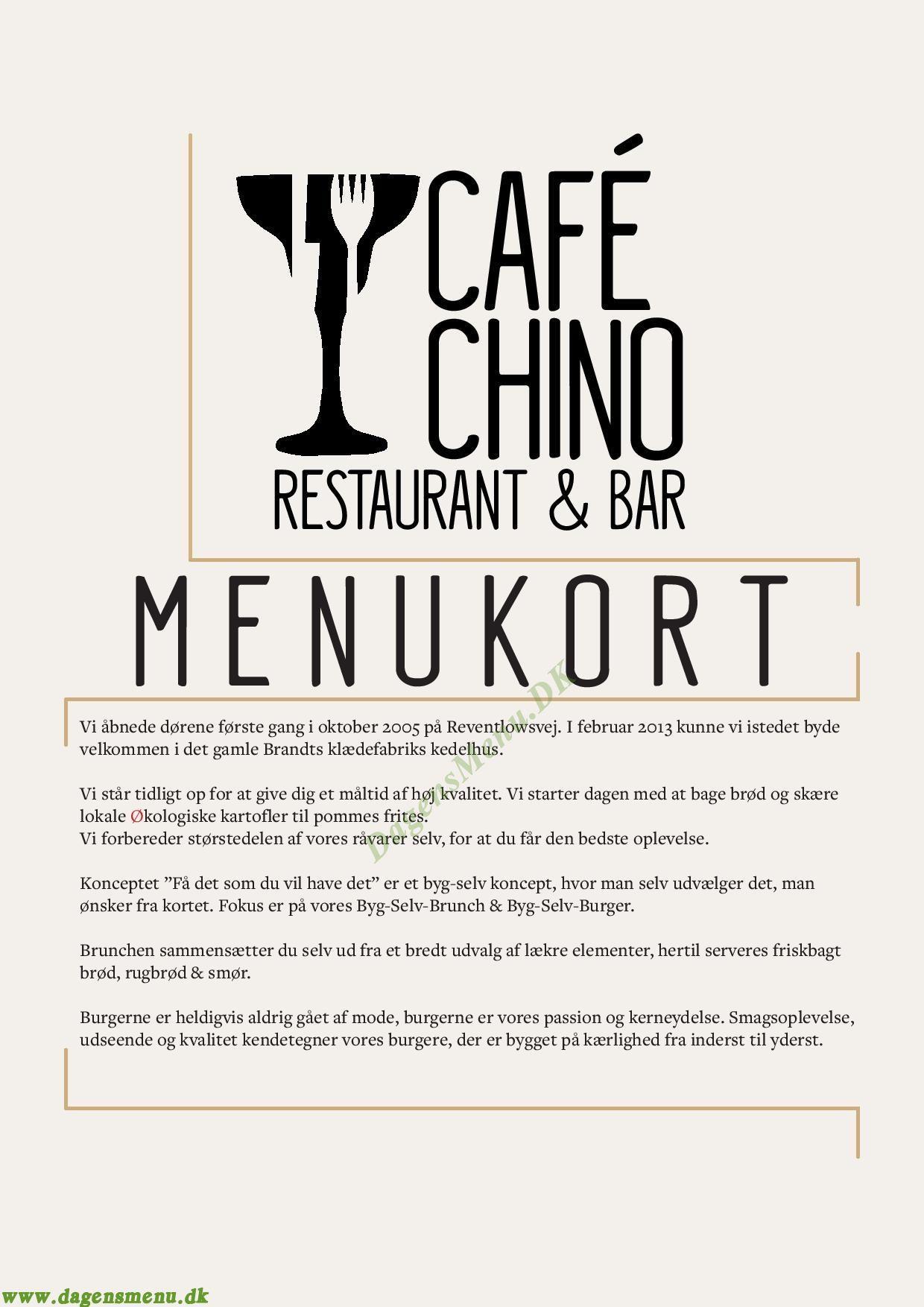 Café Chino - Menukort