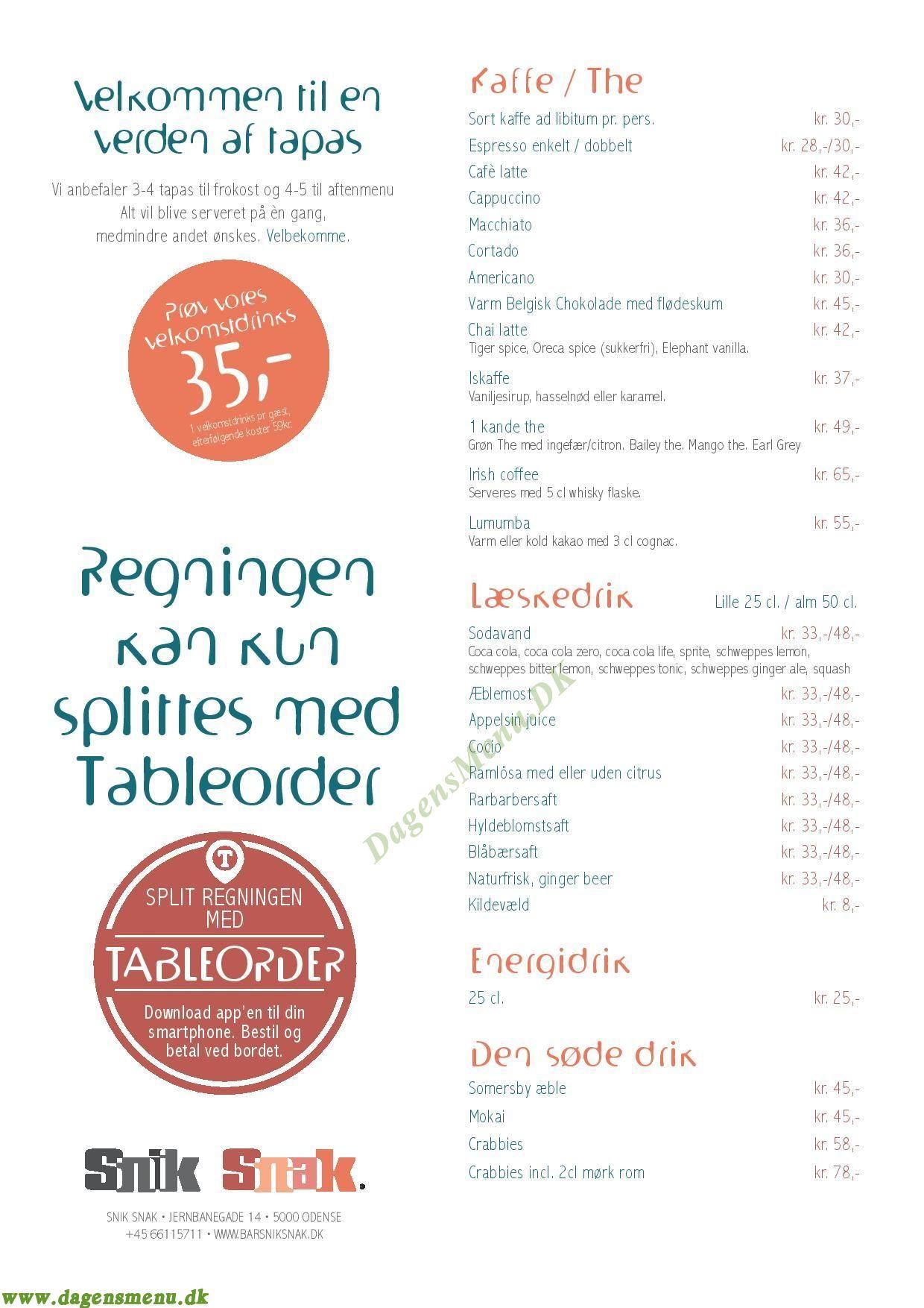 Restaurant Snik Snak Menukort