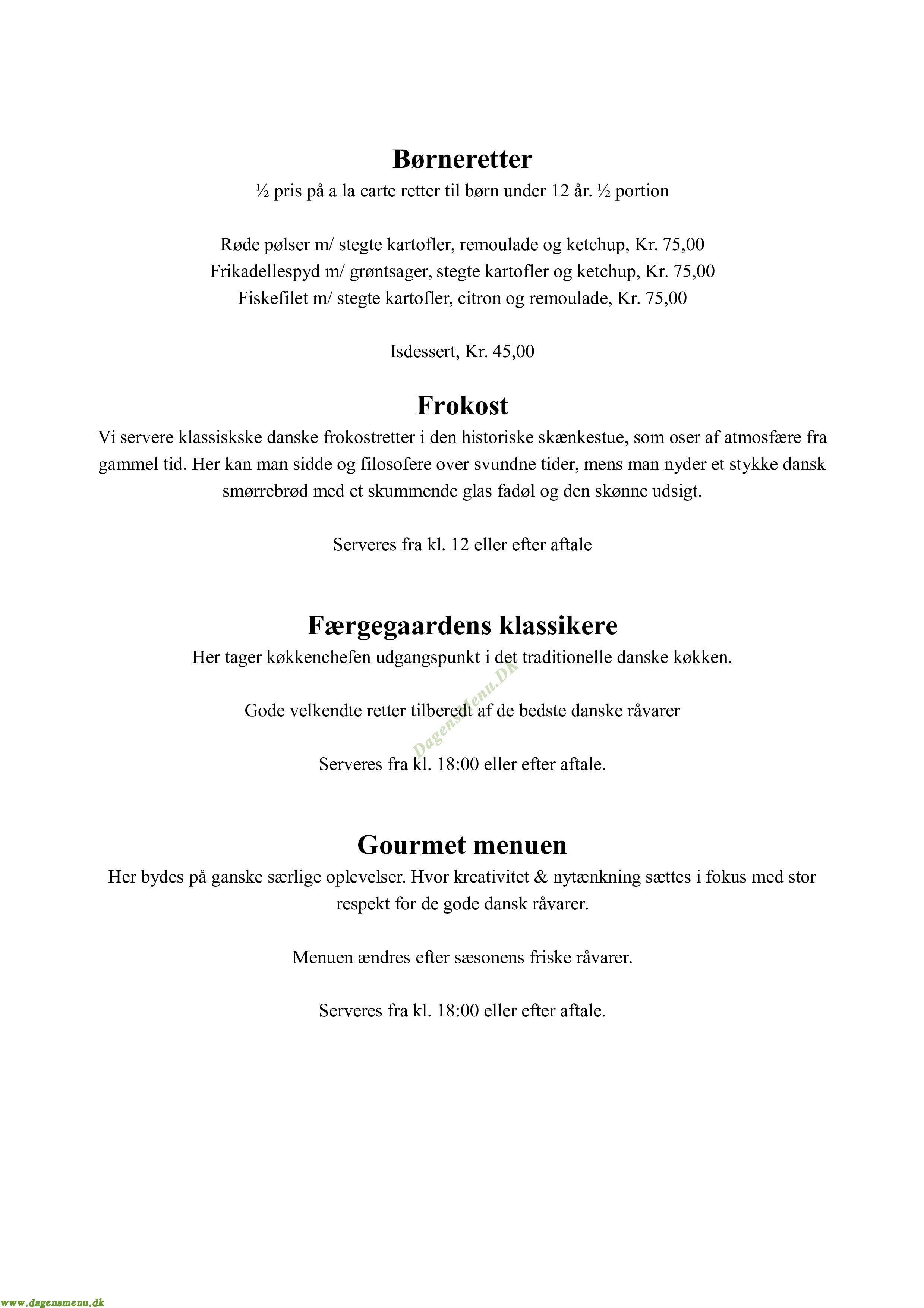 Hotel Færgegaarden - Menukort