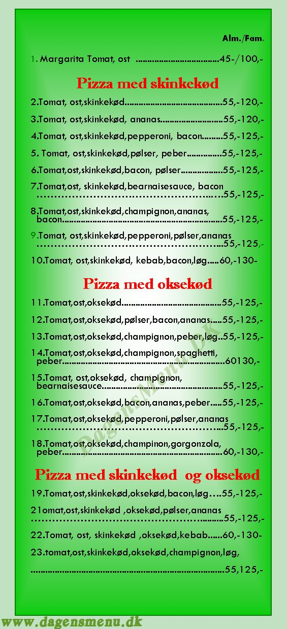 Allested Pizza - Menukort