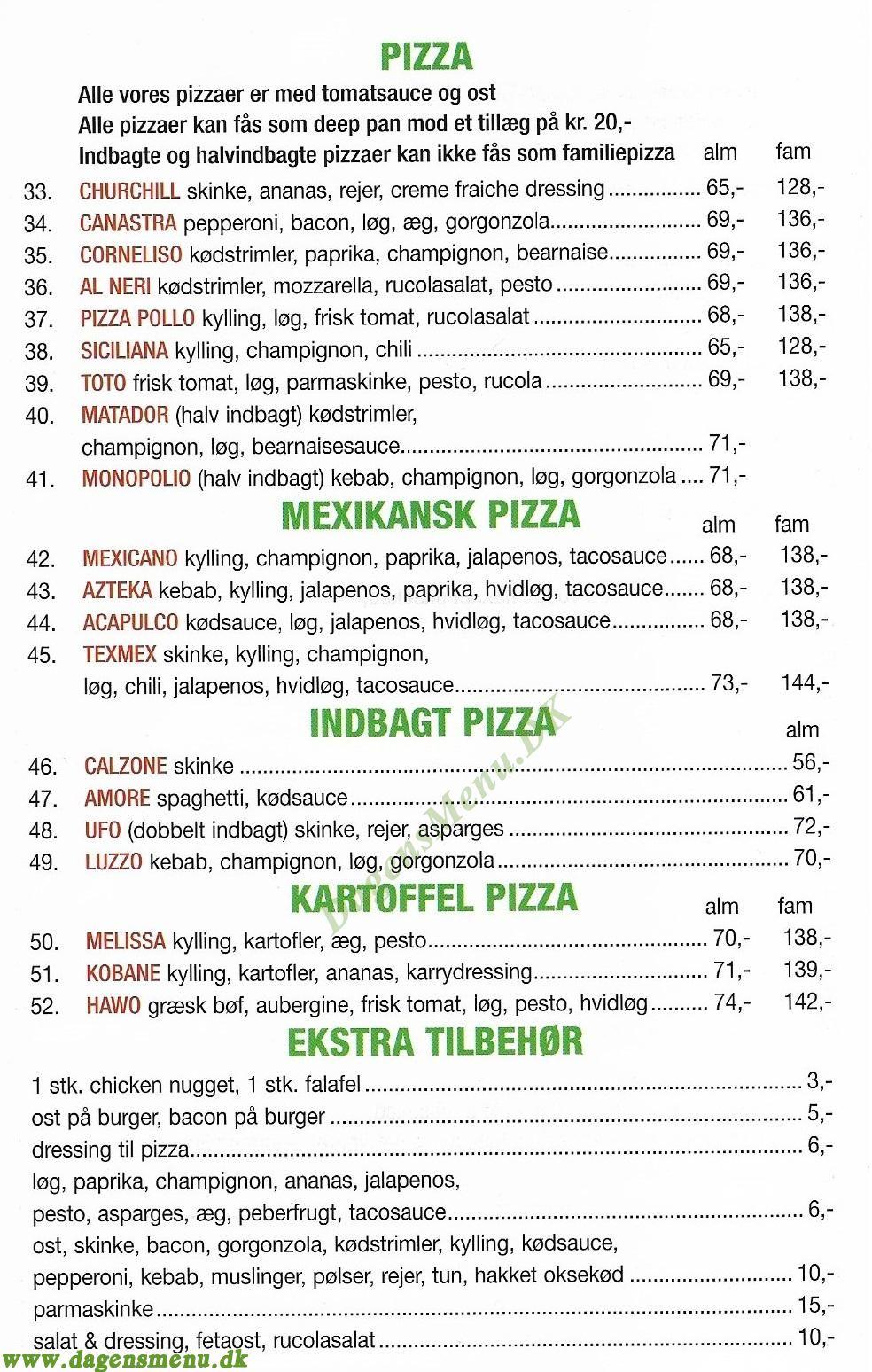Baba's Pizza - Menukort