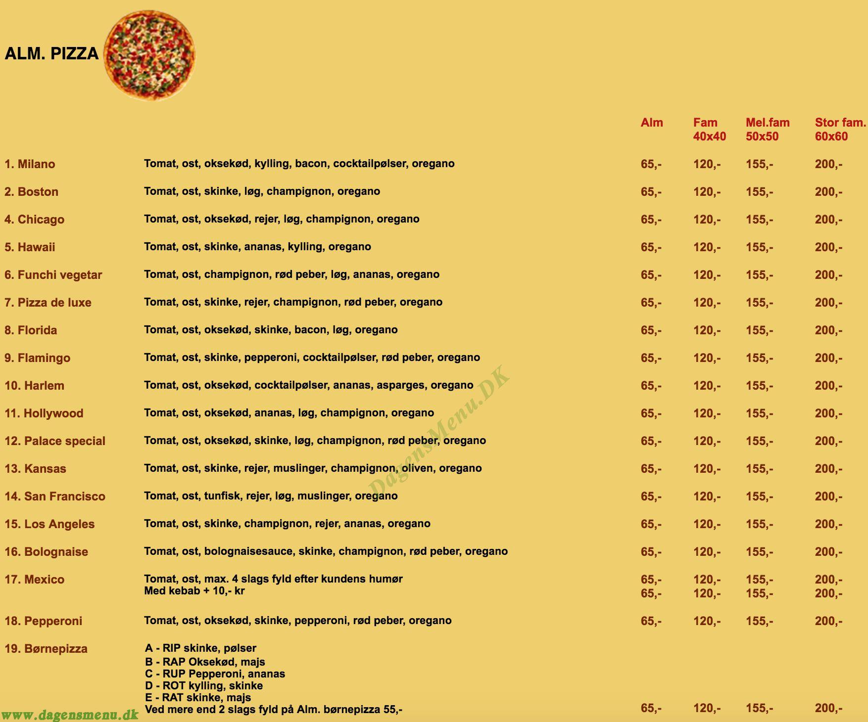 Pizza Palace - Menukort