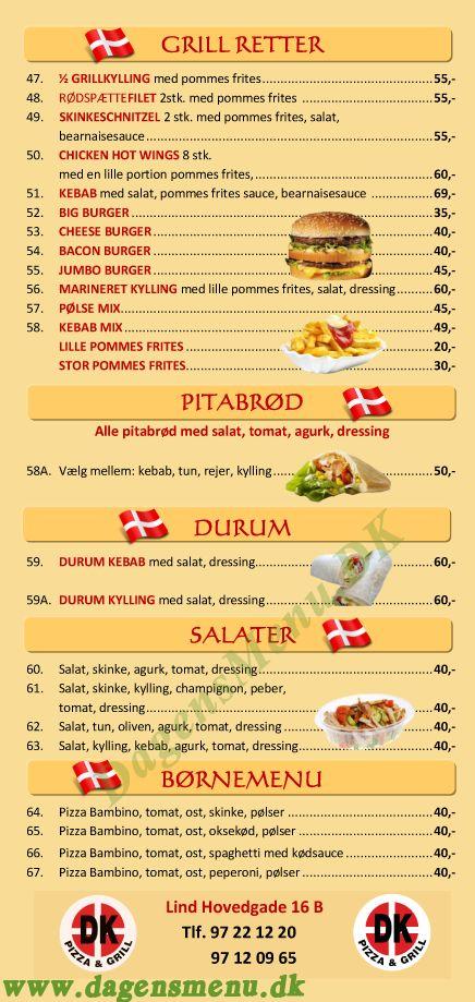 DK Pizza og Grill - Menukort