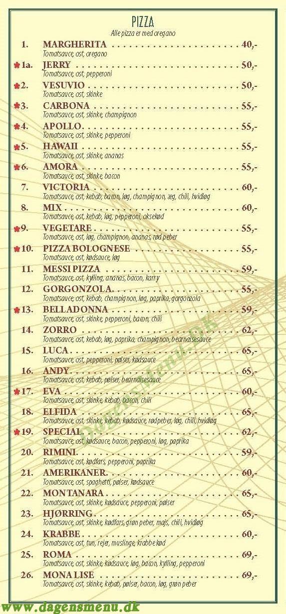 Pizzaria Mona Lisa - Menukort