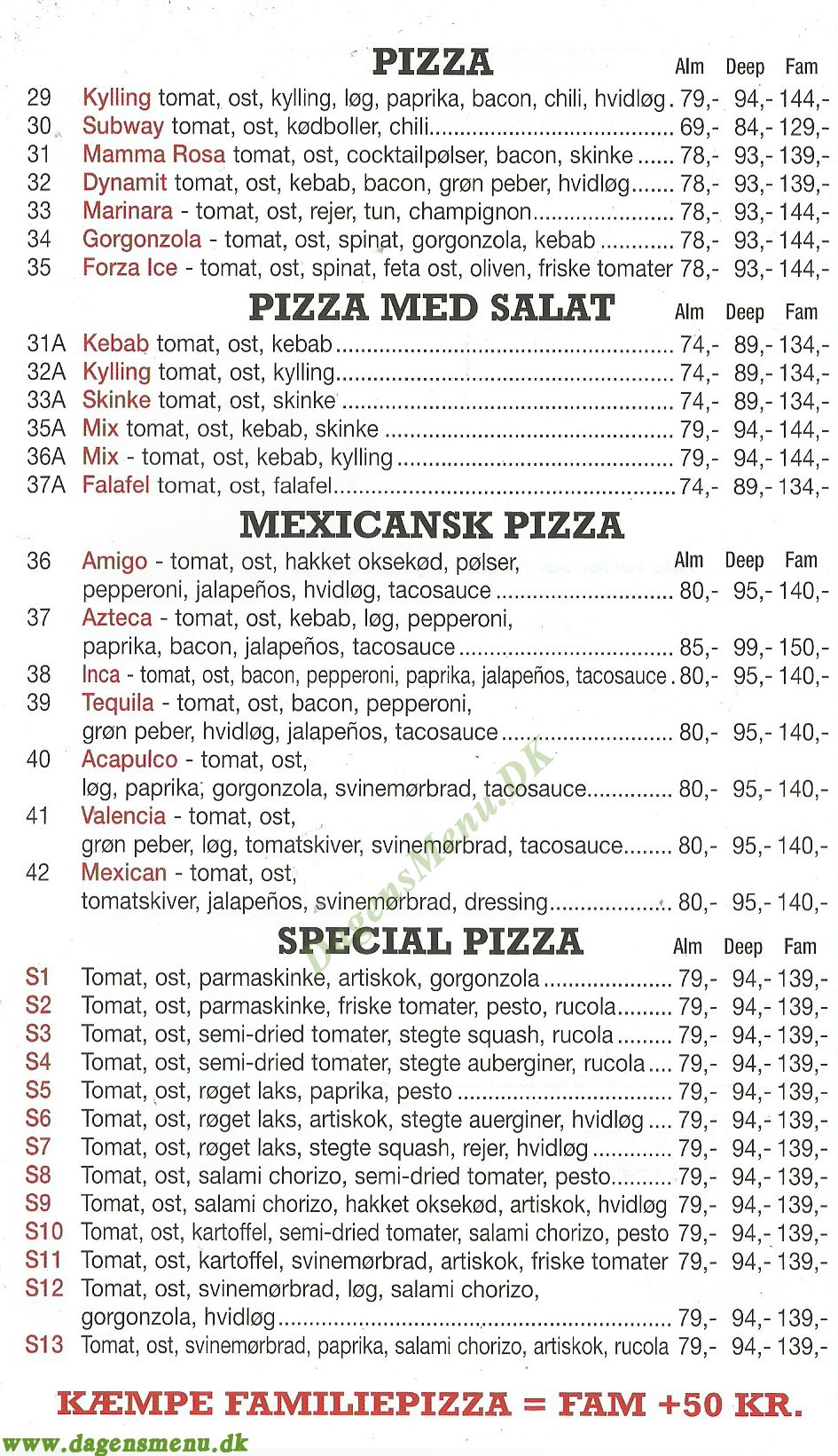 pizza bella bogense menukort