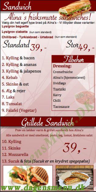 Alina's sandwich & grill - Menukort