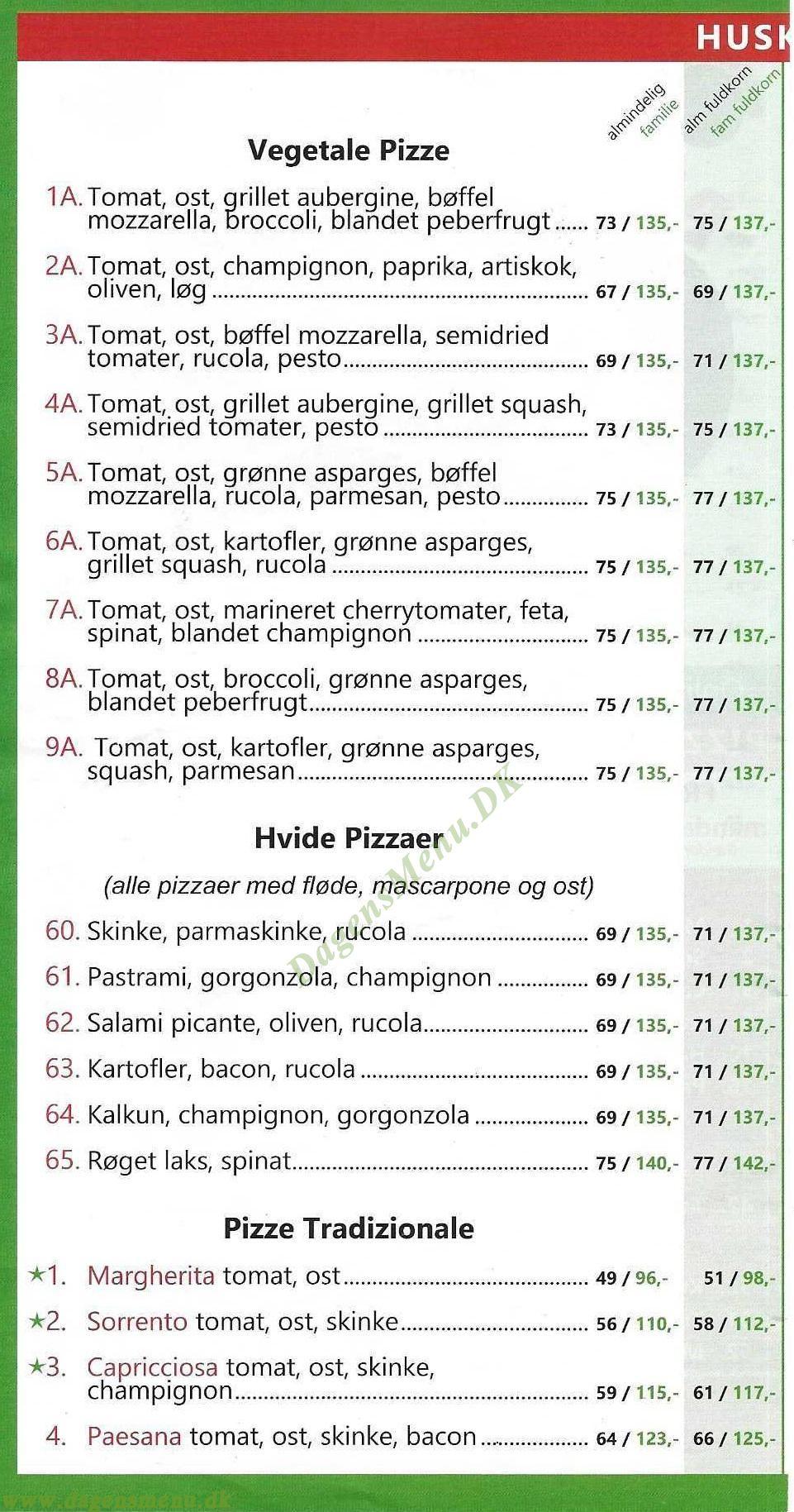 Piccolo Mondo Pizza - Menukort