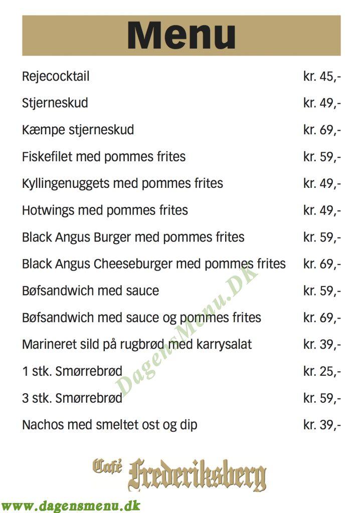 Cafe Frederiksberg - Menukort