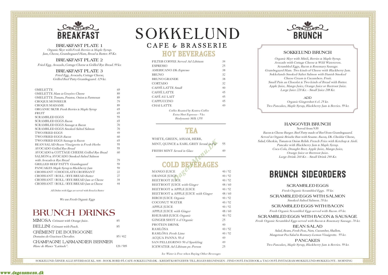Sokkelund Café & Brasserie - Menukort