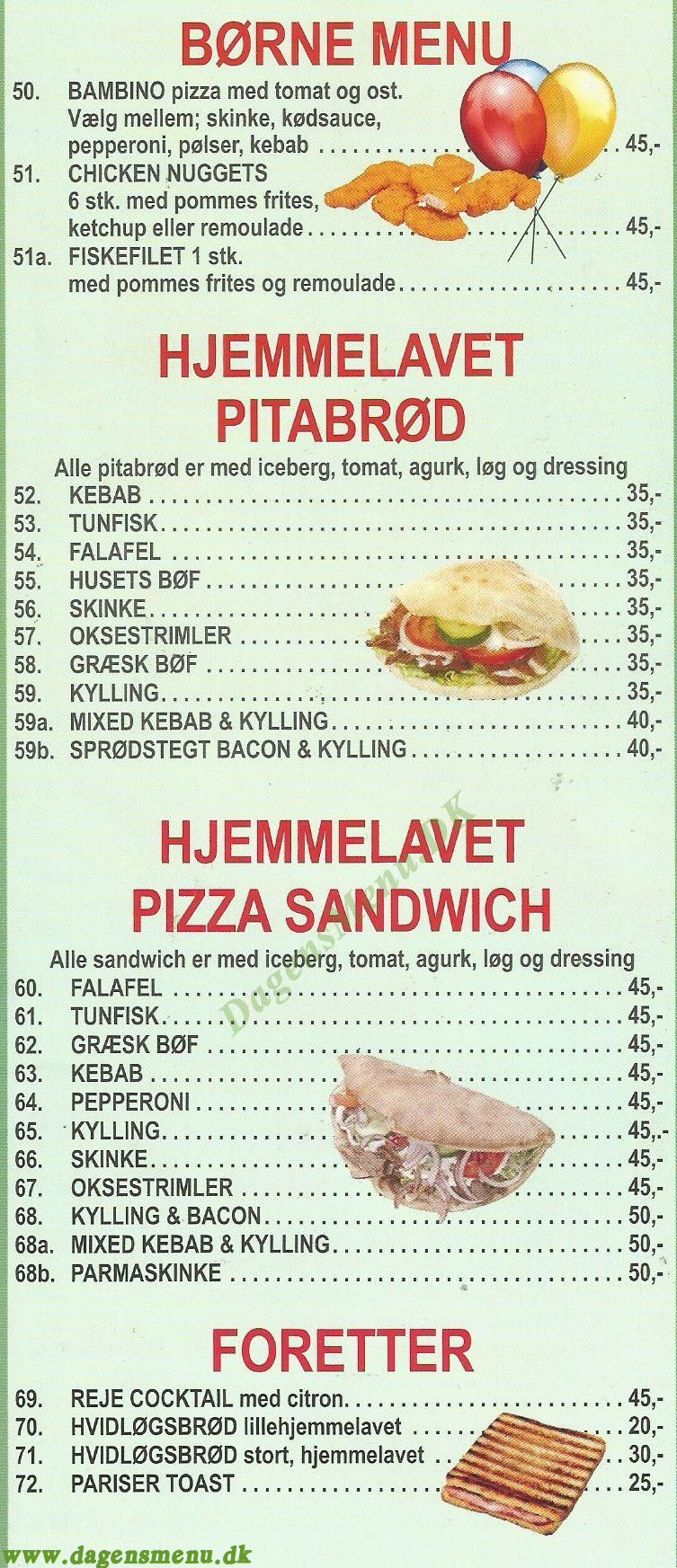 Peperone Pizza Amager Menukort