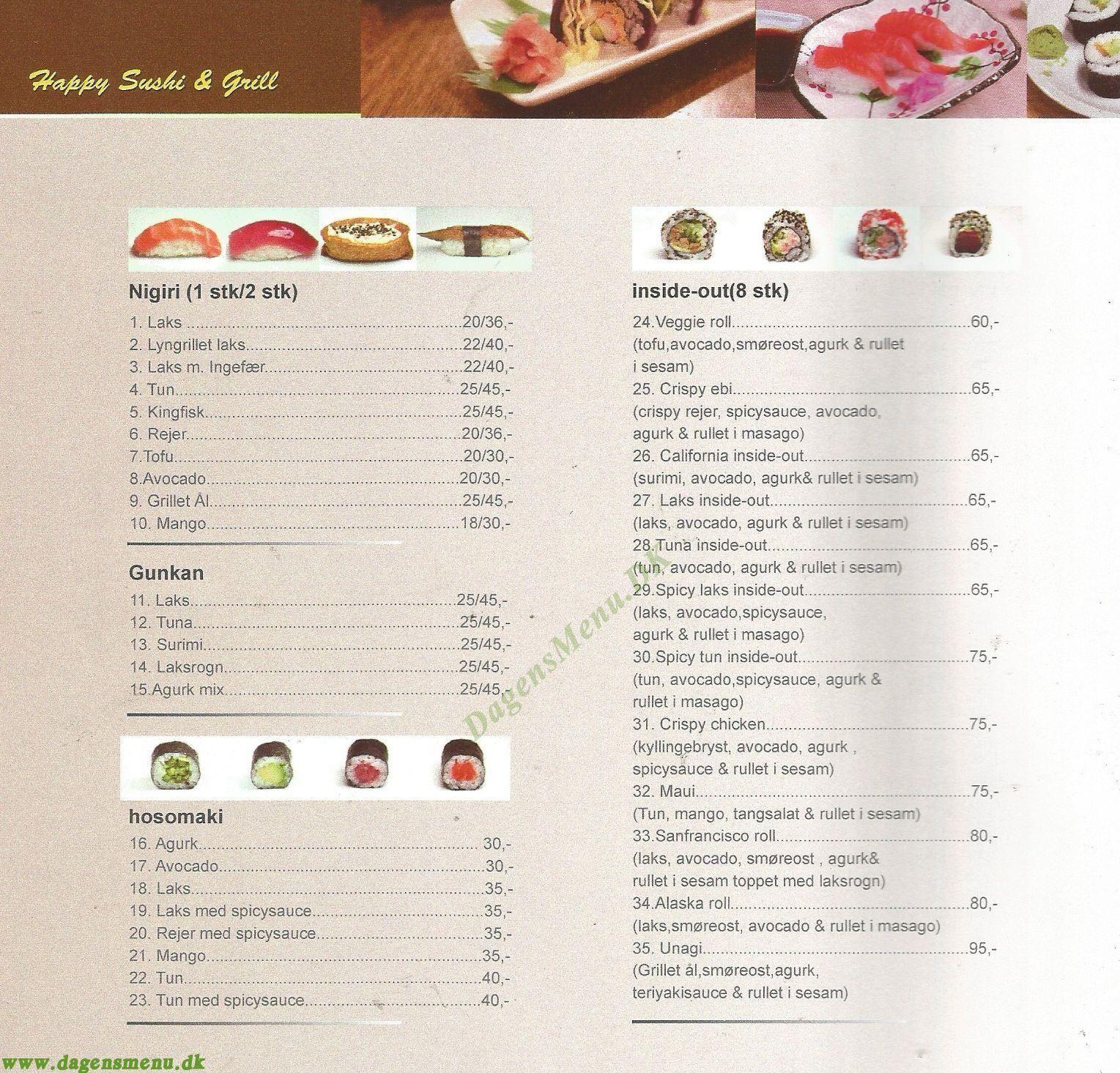 Happy Sushi & Grill - Menukort