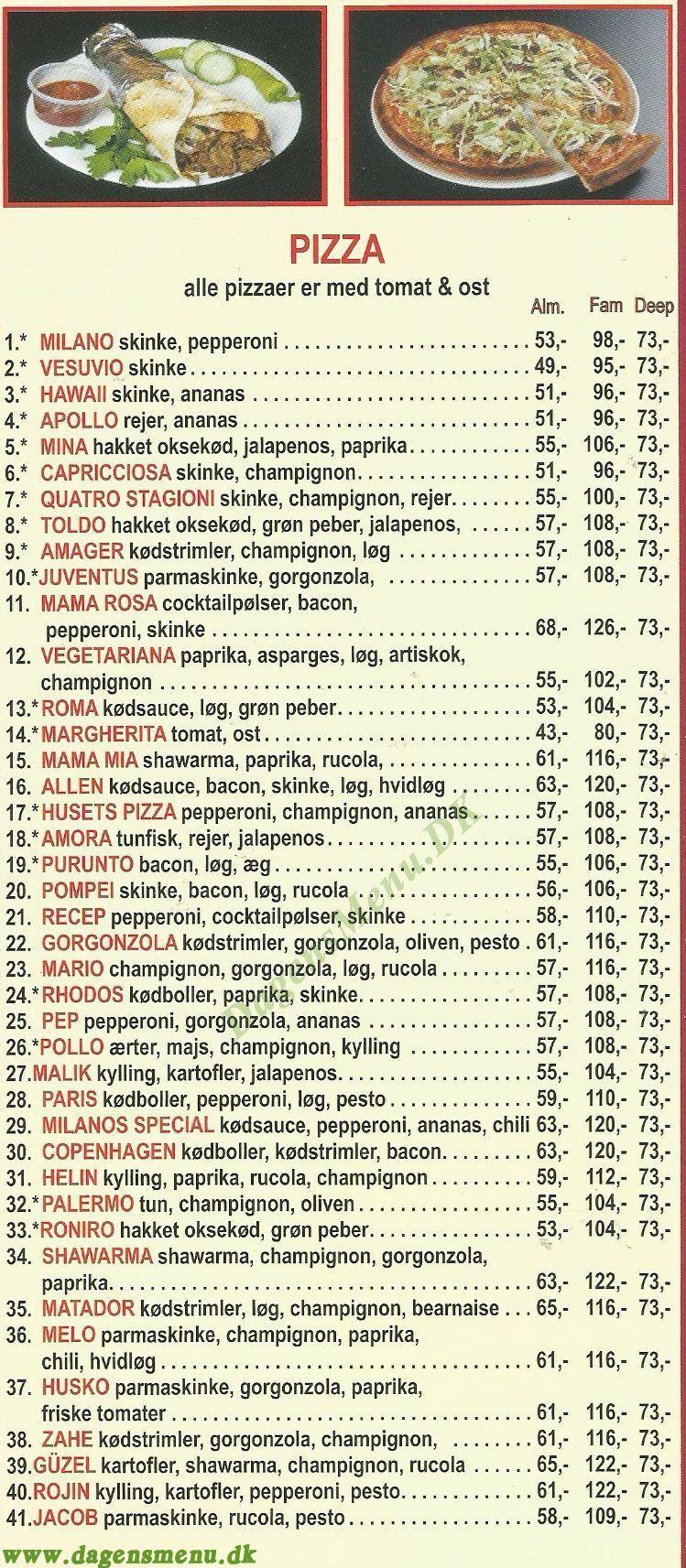 Casalinga Italiano - Menukort