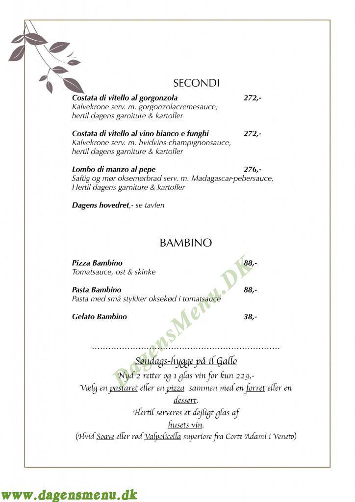 Il Gallo Restaurant - Menukort
