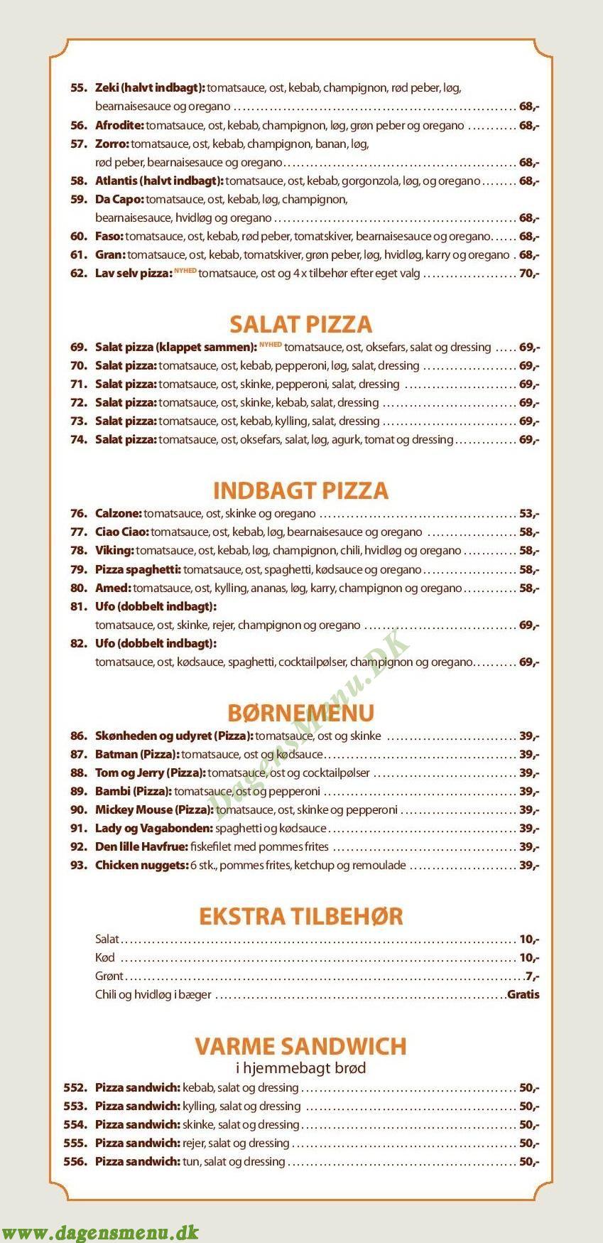 Pizza Bambino - Menukort