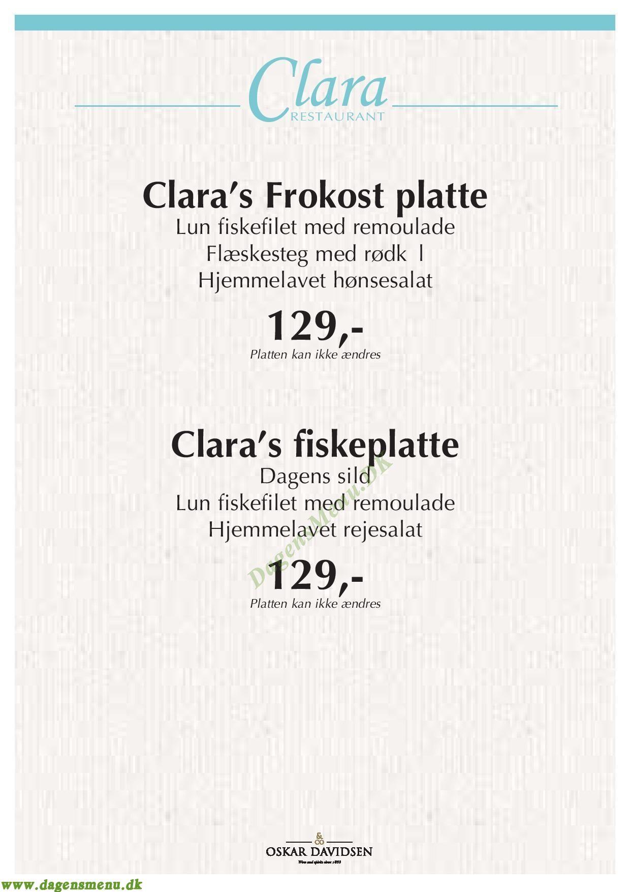 Restaurant Clara - Menukort