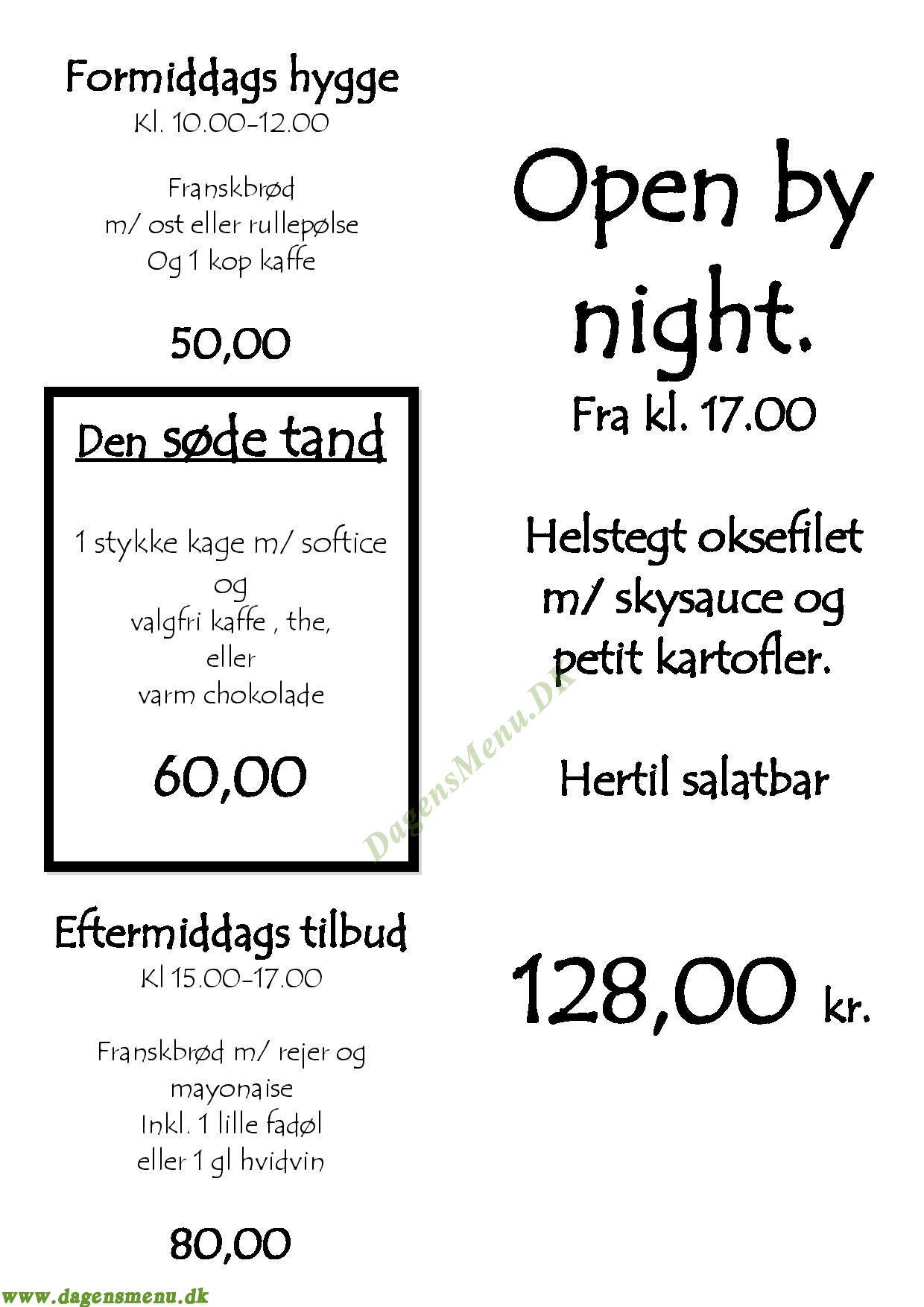 Café Bord 1 - Menukort