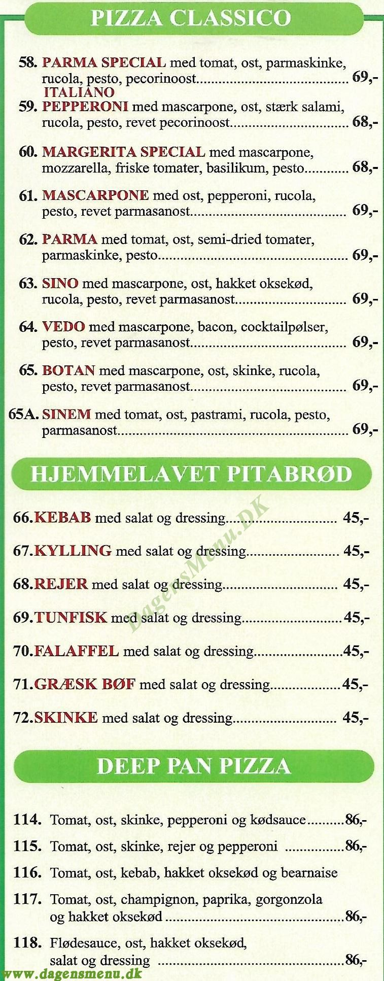Hjortens Pizzaria & Café - Menukort