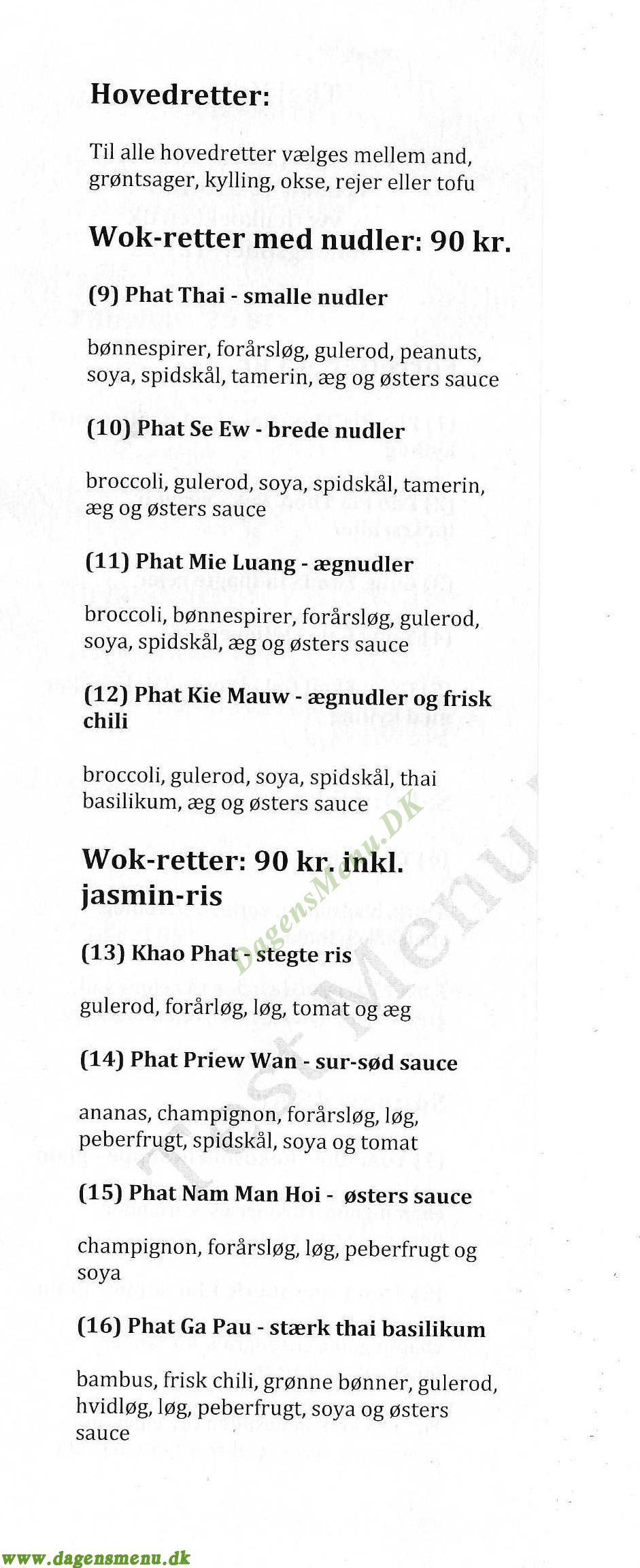 Thai Køkken - Menukort