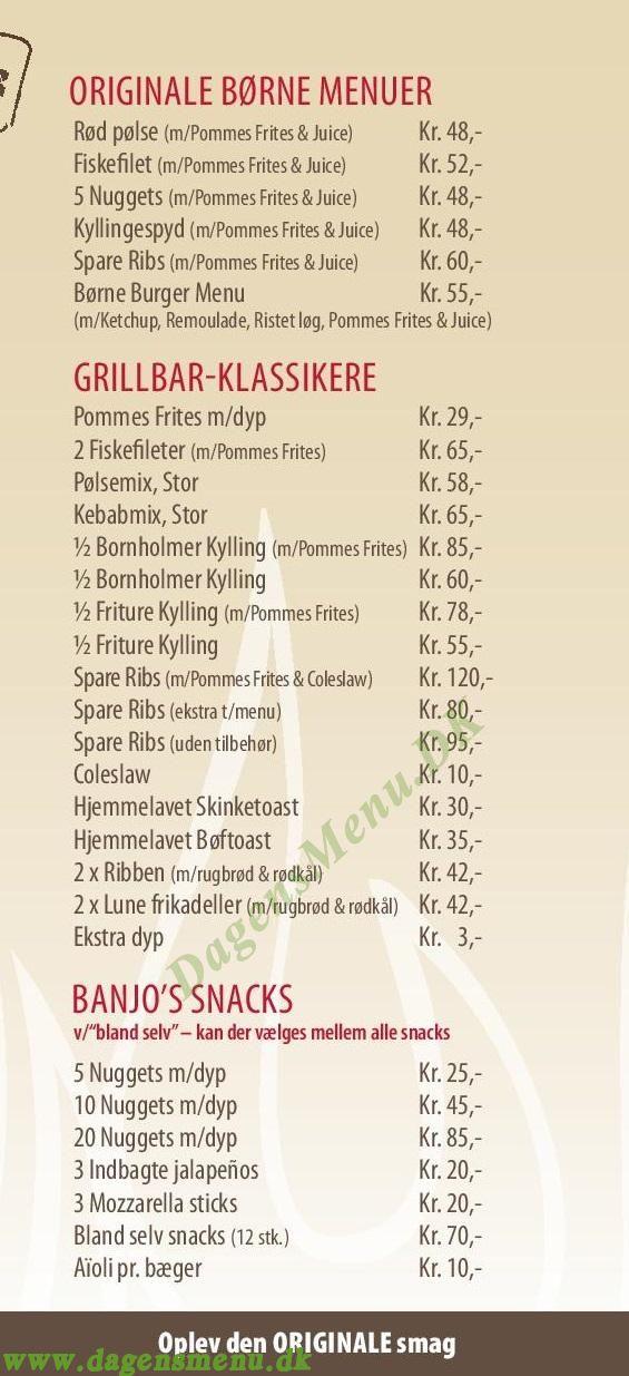 Banjo's Grill - Menukort
