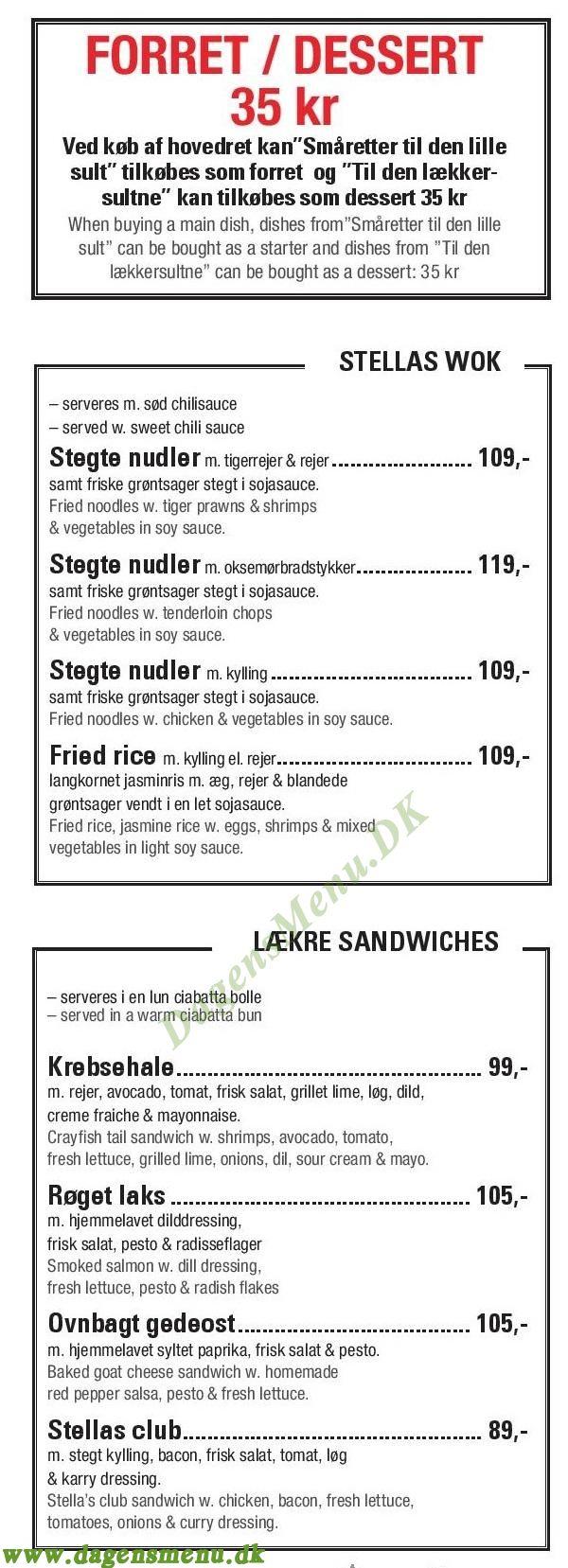 Café Stella - Menukort
