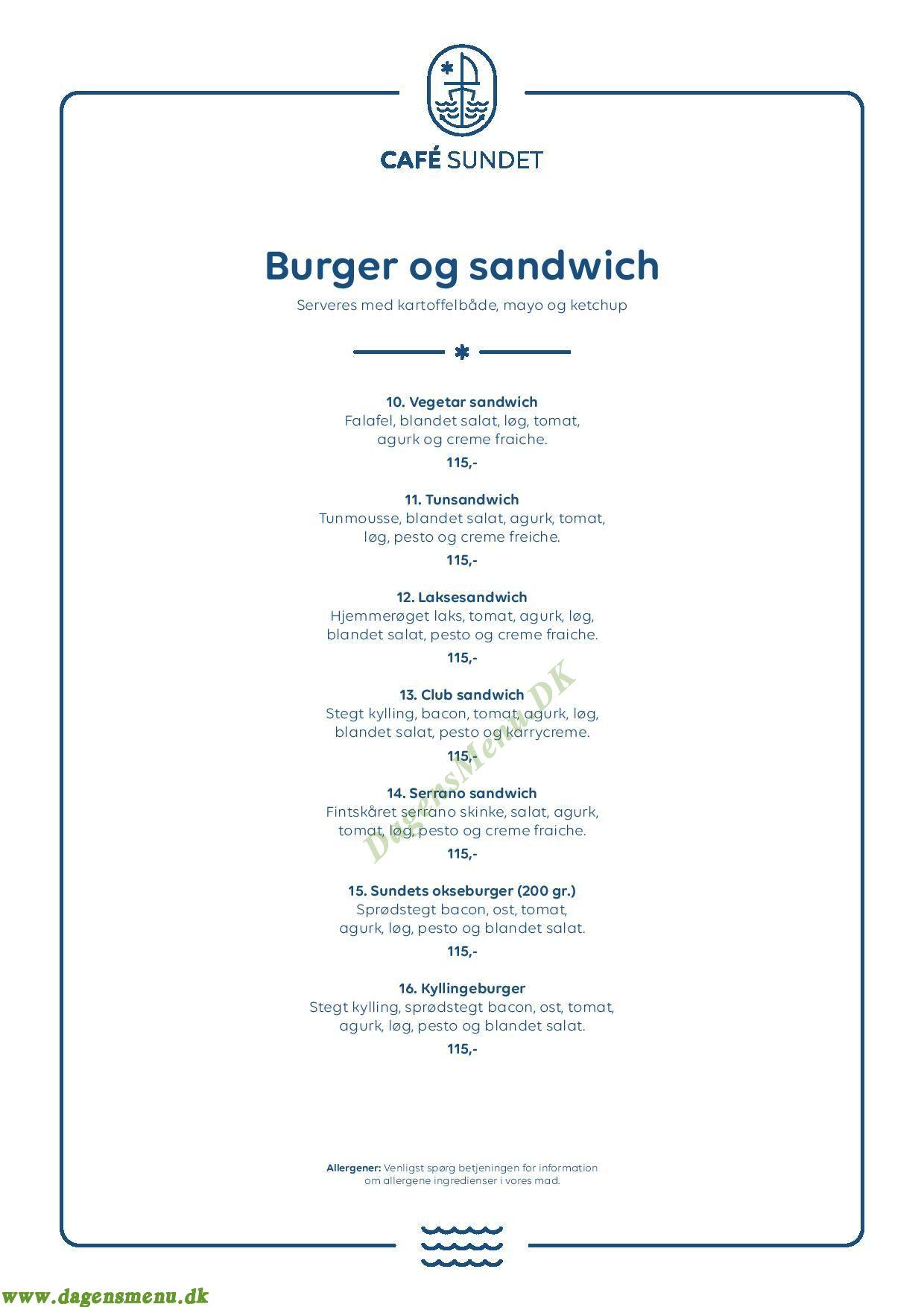 Café Sundet Østerbro - Menukort