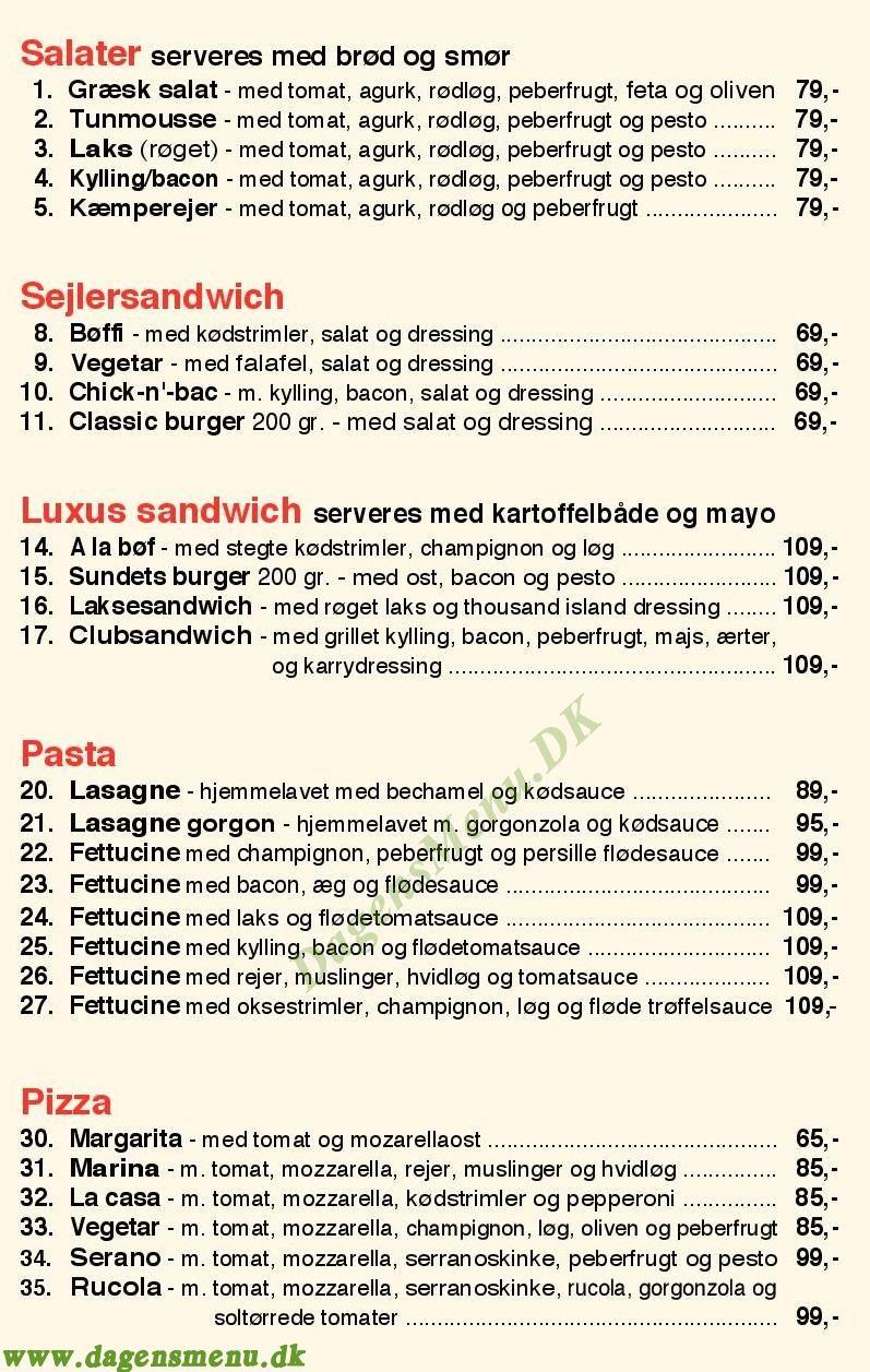Café Sundet - Menukort